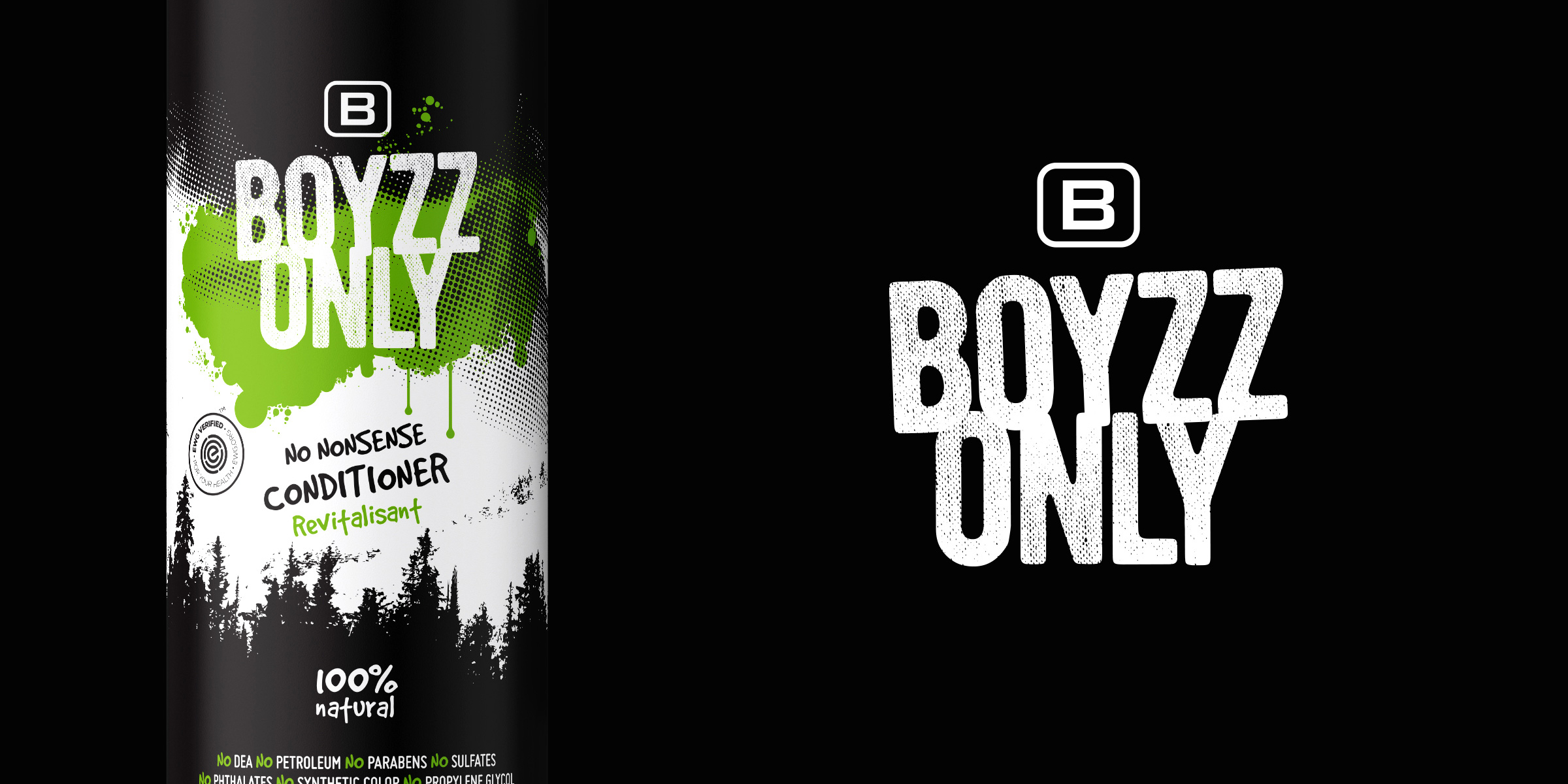 Boyzz Only conditioner and logo design