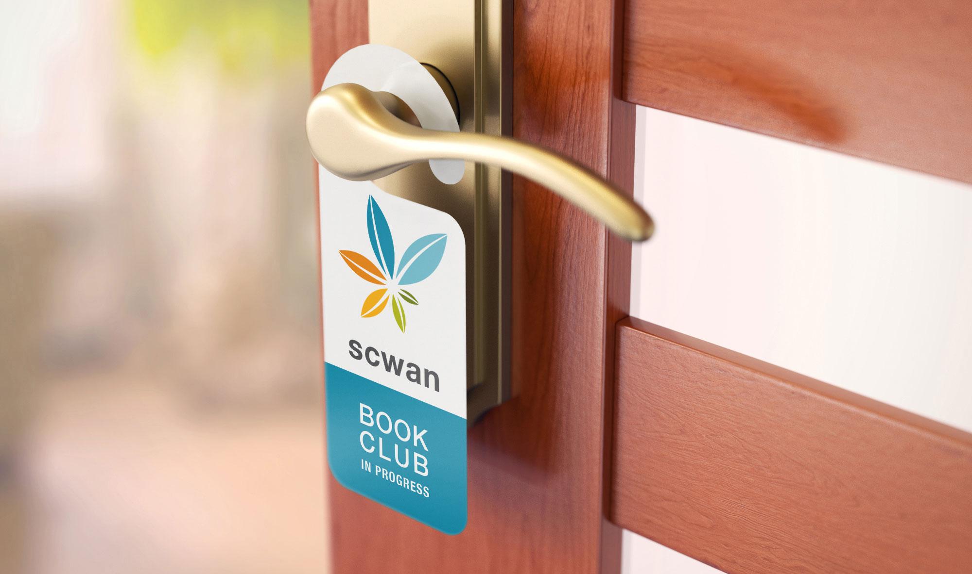 swan logo and book club door hanger