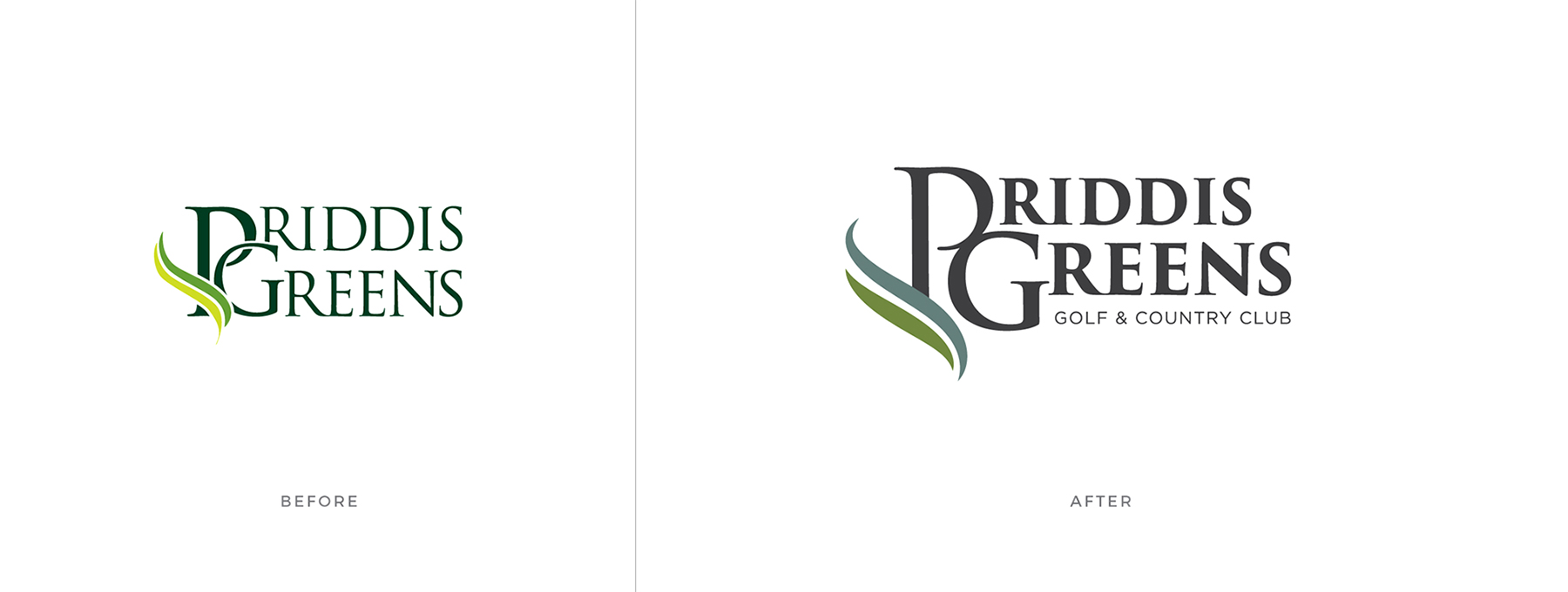priddis greens logo before and after