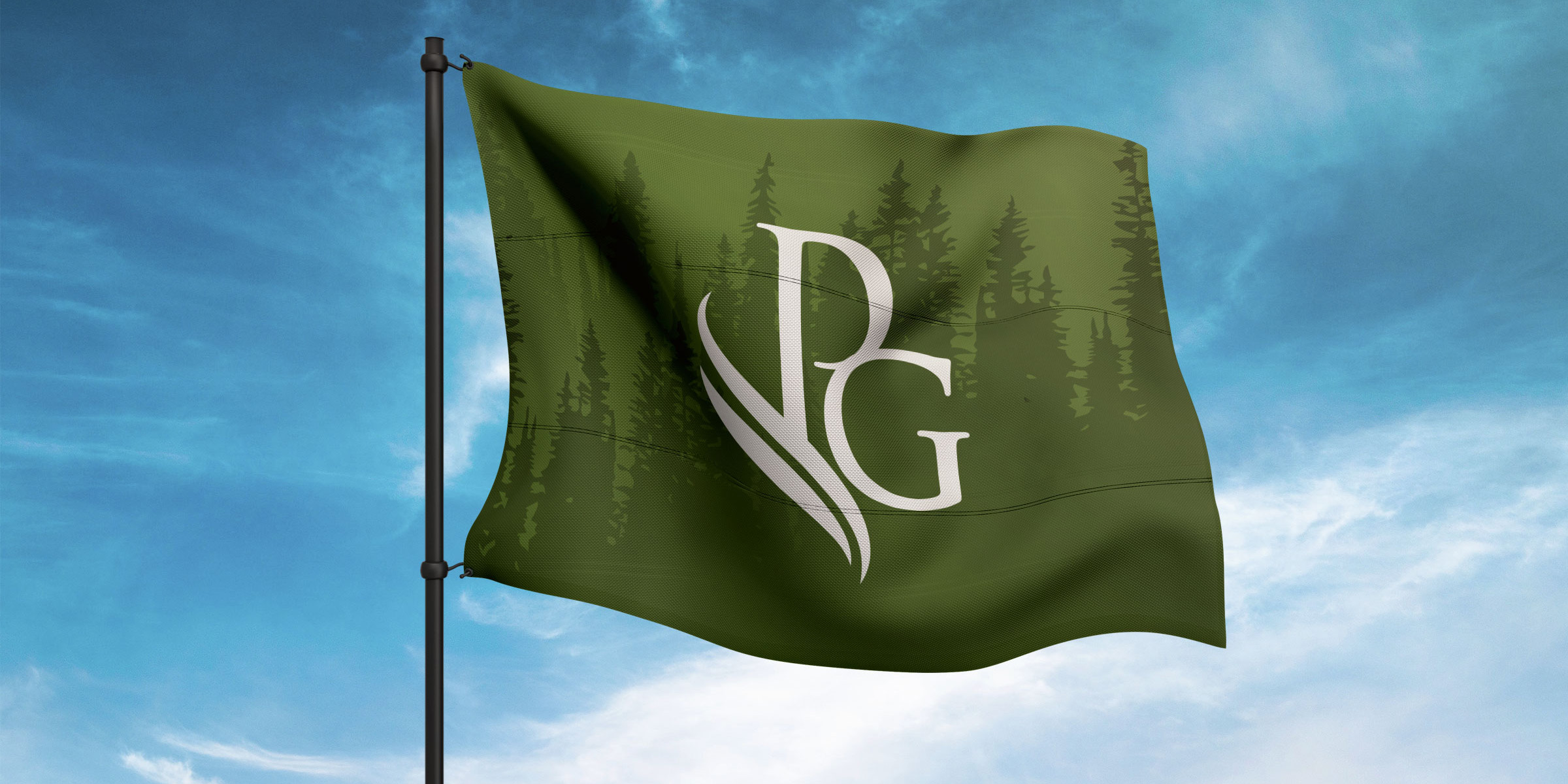 Priddis Greens logo on a green flag