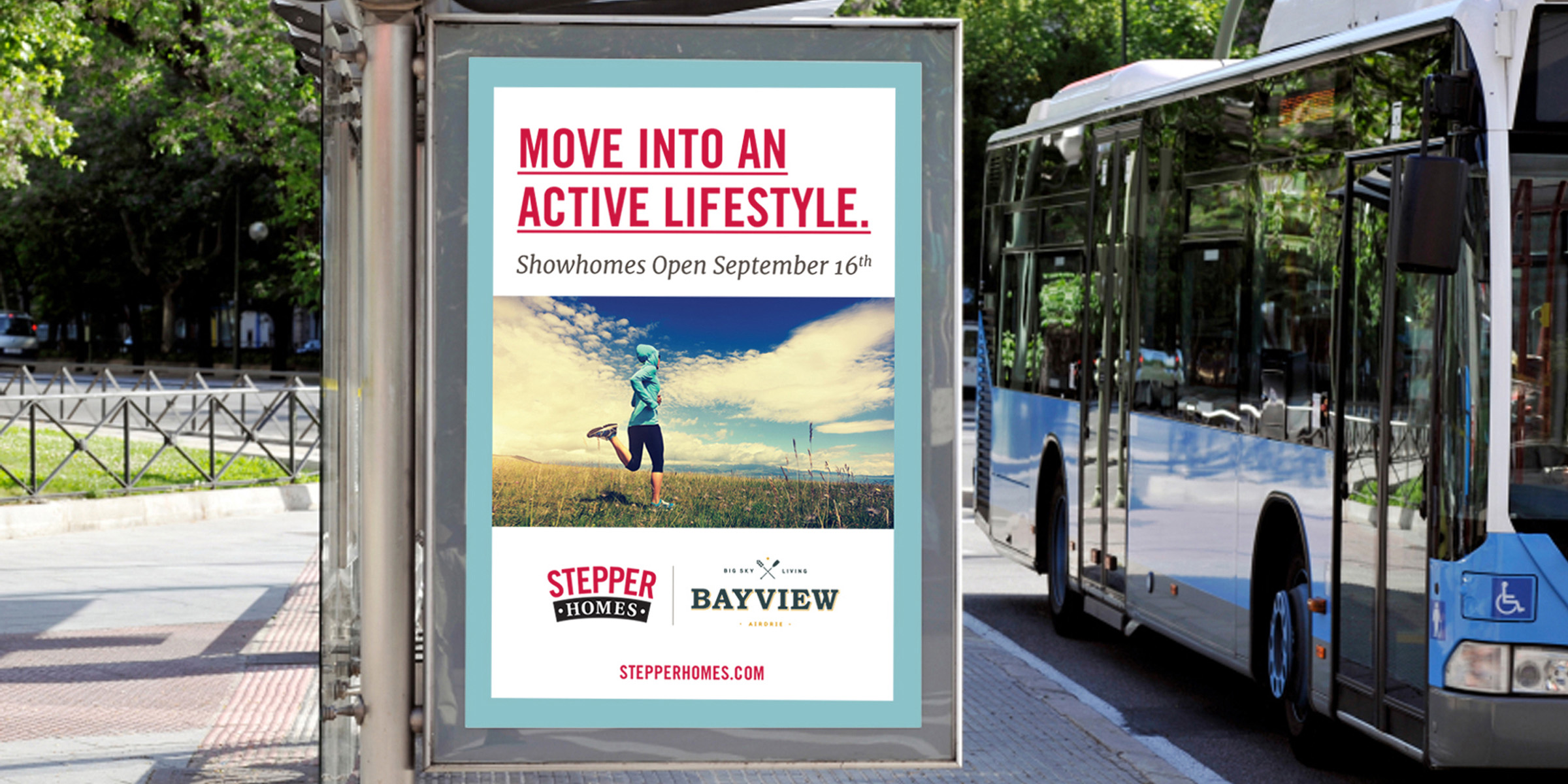 Stepper homes bus shelter ad