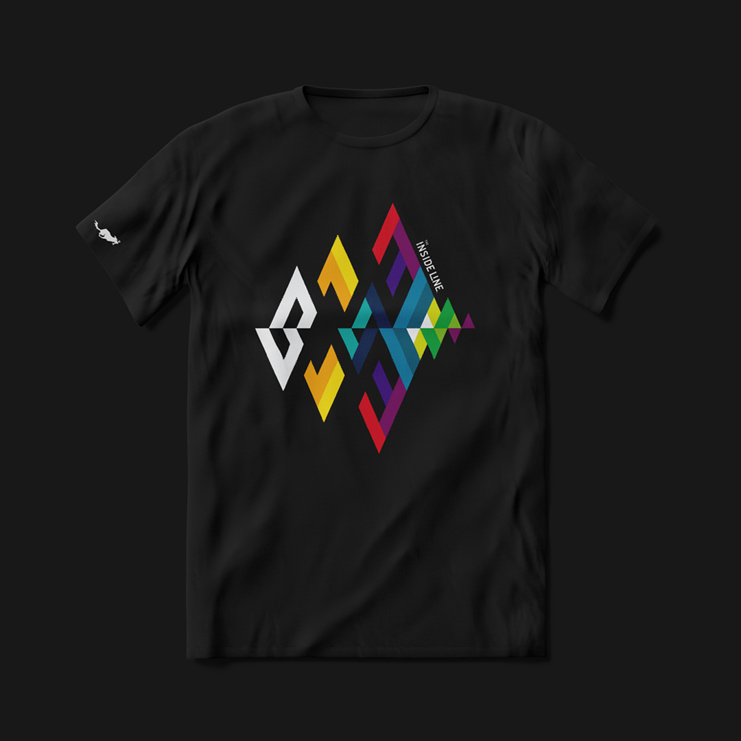 Colorful graphics on black jersey