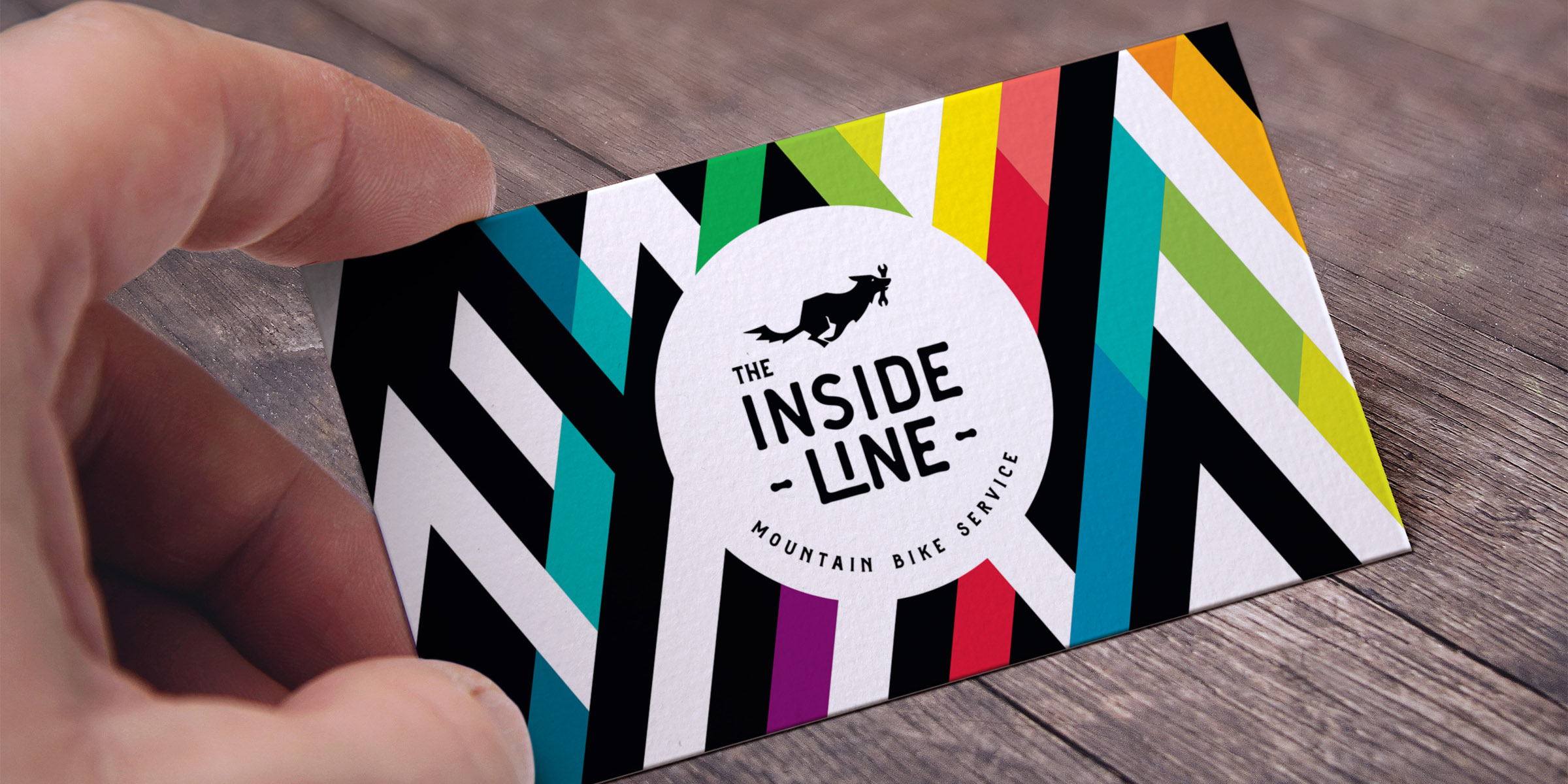 Inside Line logo and pattern on a business card