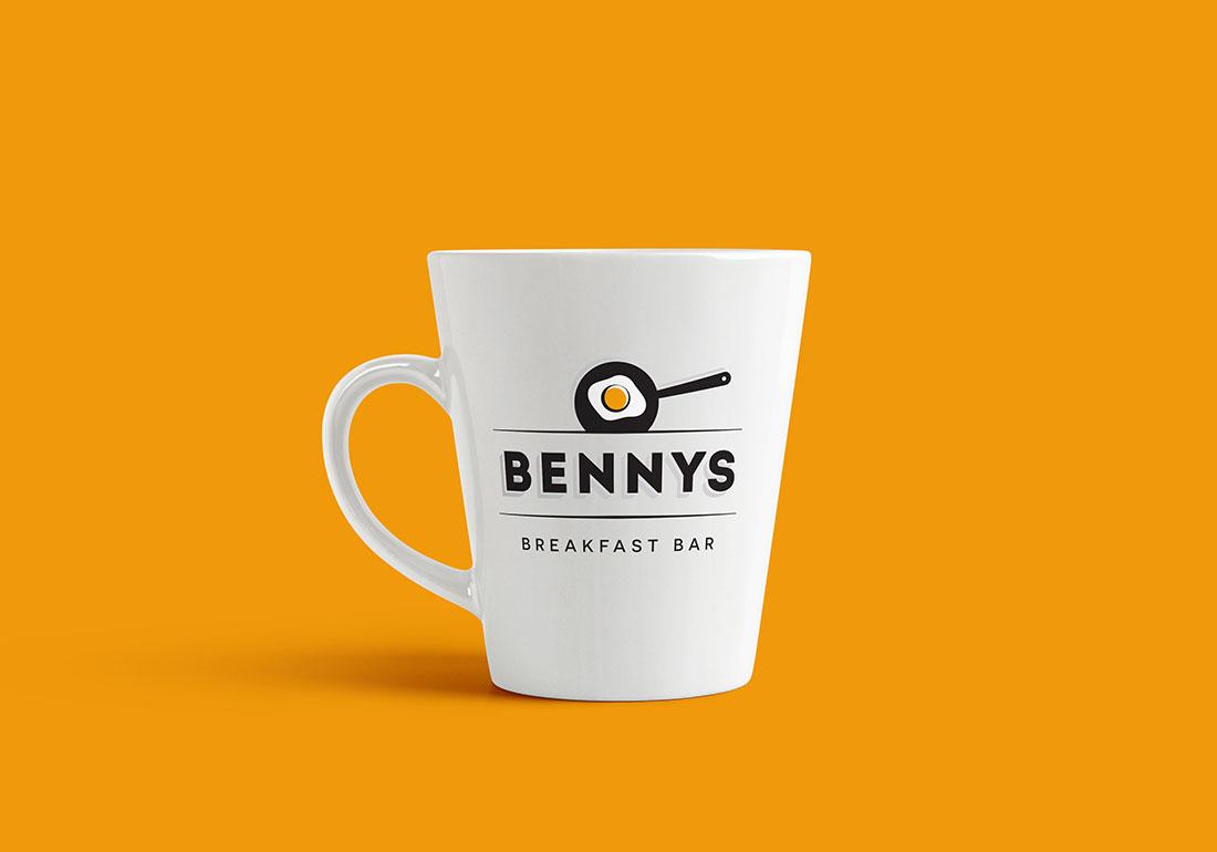 Bennys Breakfast Logo on a mug