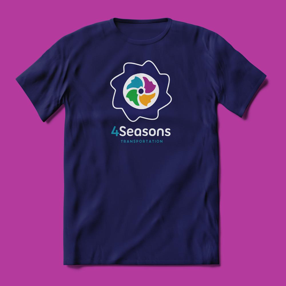4 Seasons Logo on a blue tshirt