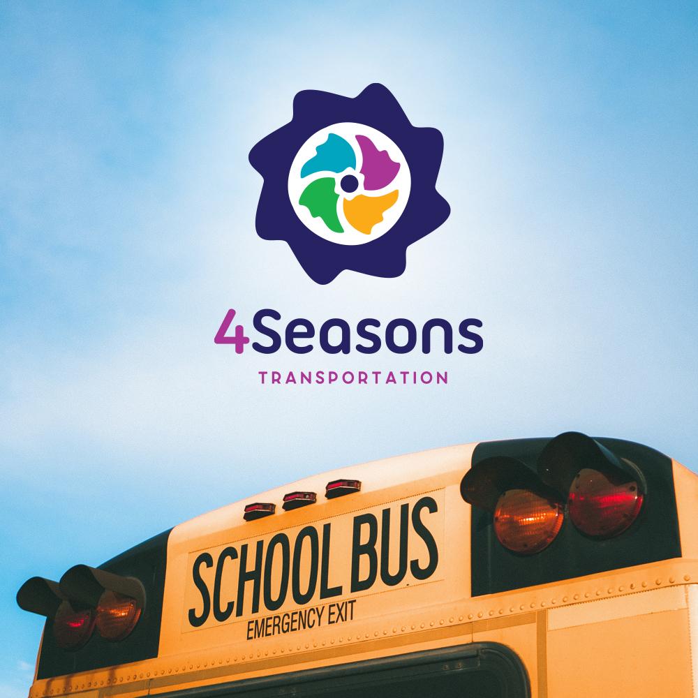 4 Seasons logo above a school bus