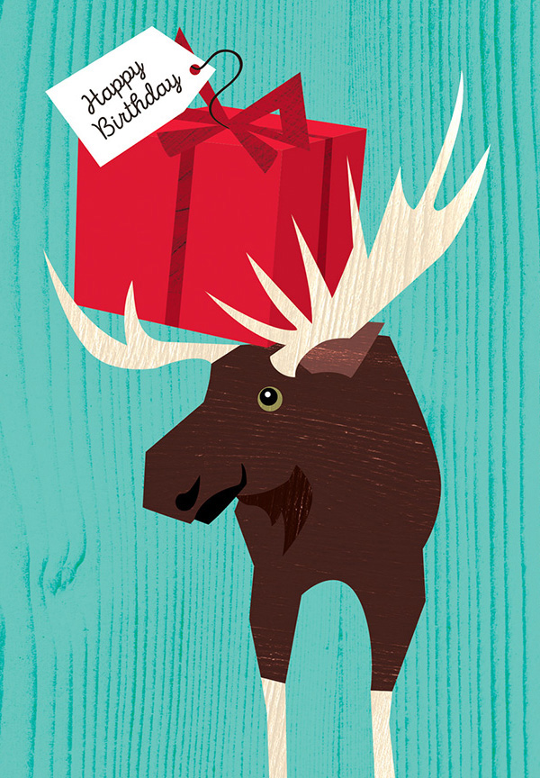 Greeting card with a moose holding a gift in his antlers.