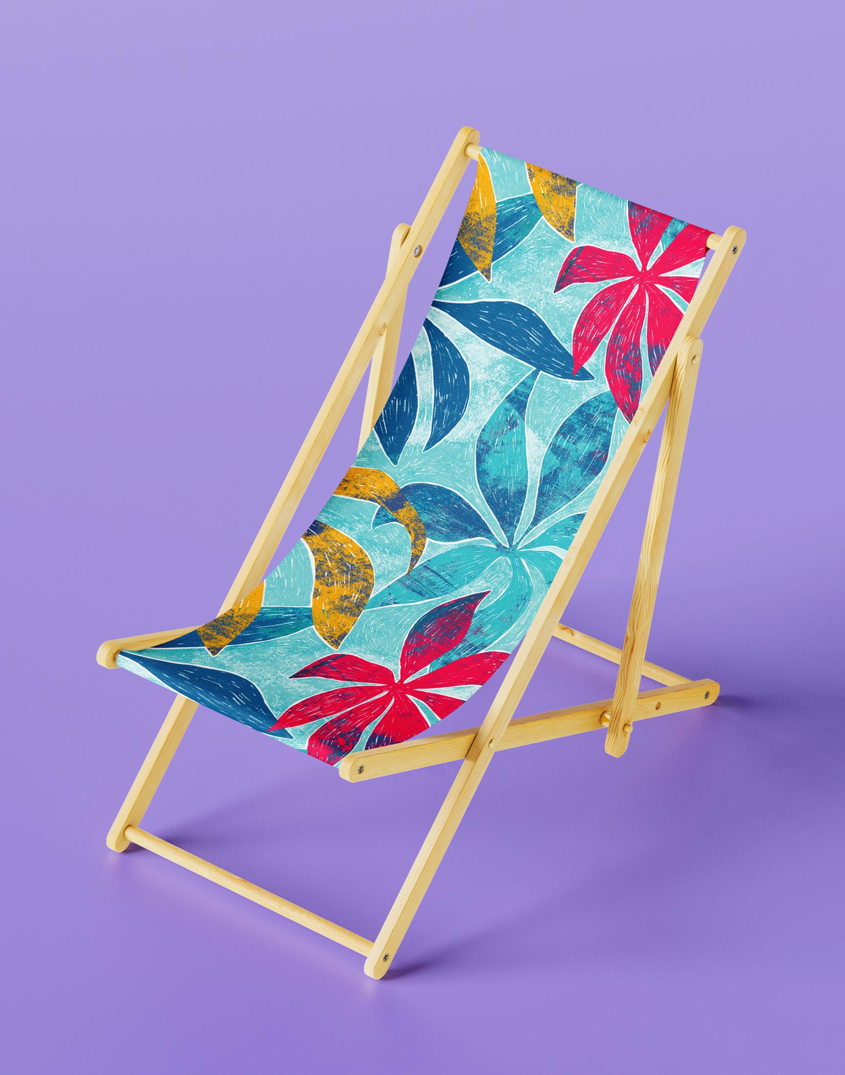 tropical pattern on a beach chair