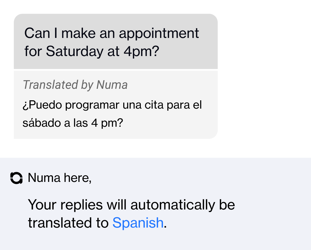 translation of a text conversation from Spanish to English