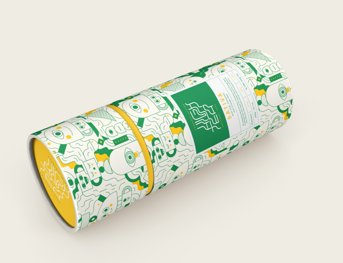 High Tea Sativa Tea Packaging Tube Design