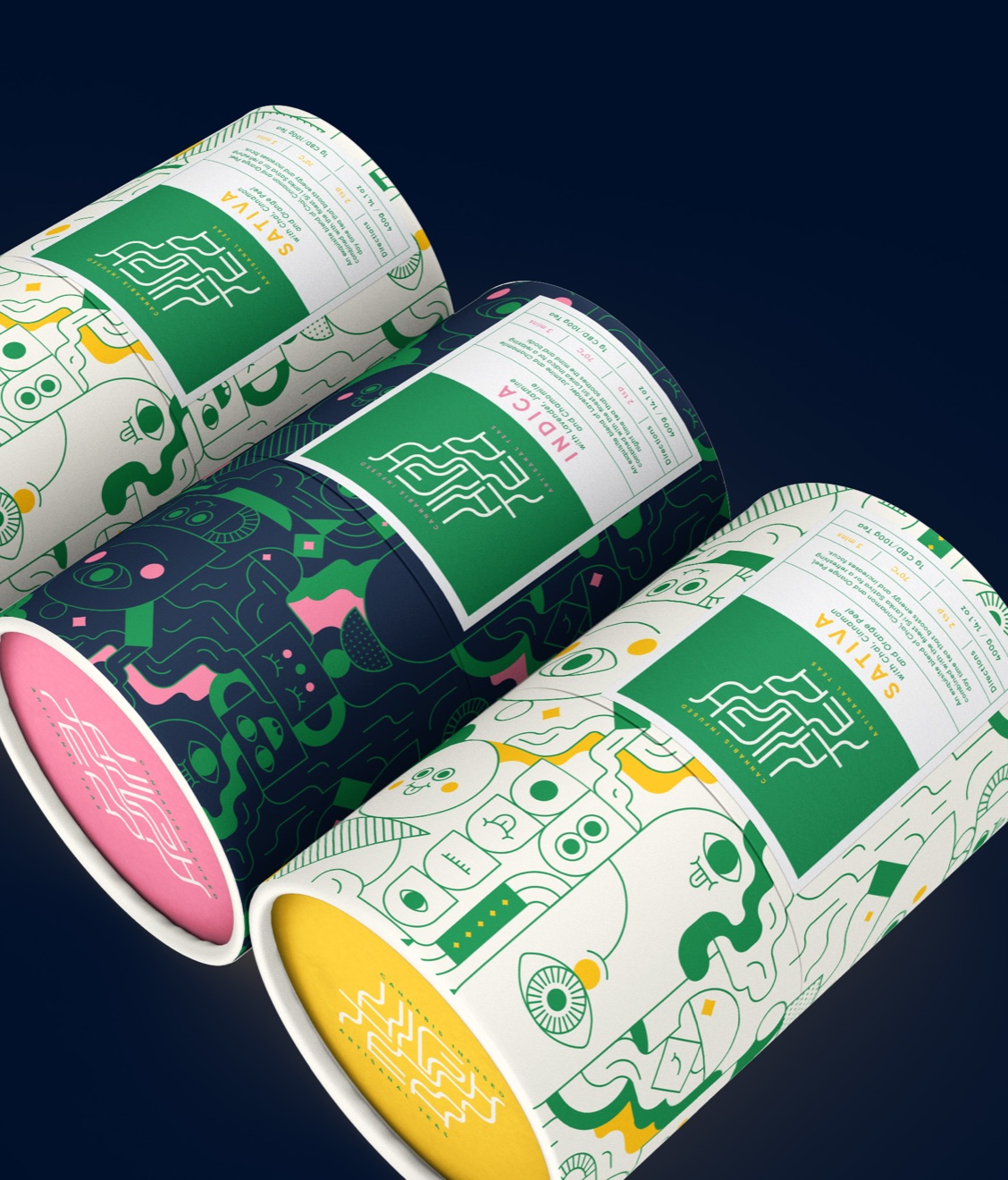 Three Illustrated Cannabis Branding Tubes