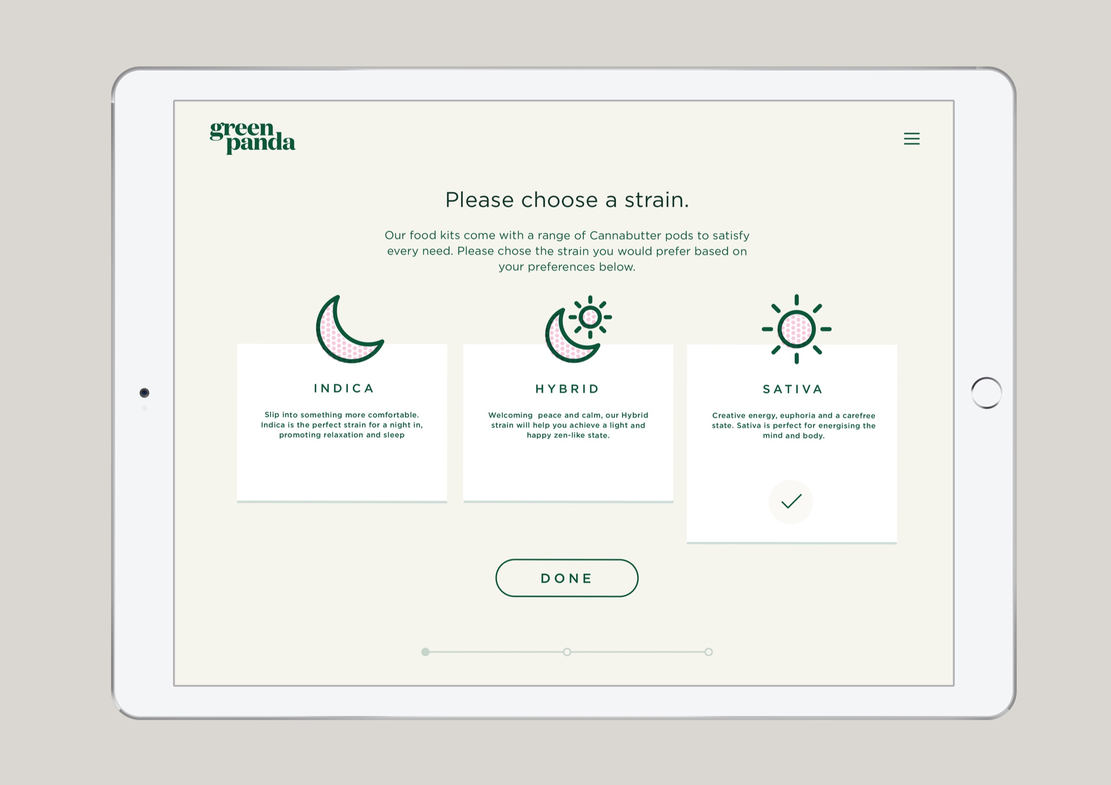 Green Panda Edibles iPad Website Design