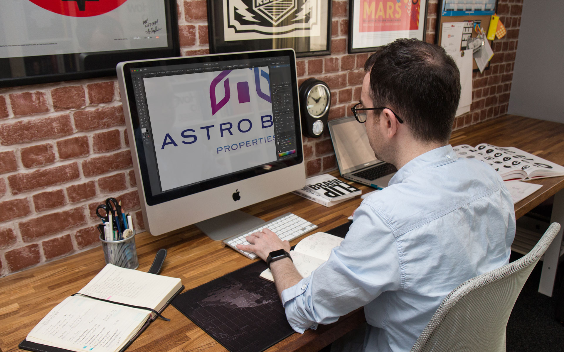 Ian Paget designing a logo in Adobe Illustrator