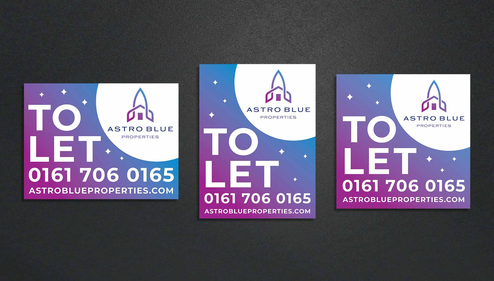 Astro Blue To Let Sign Design
