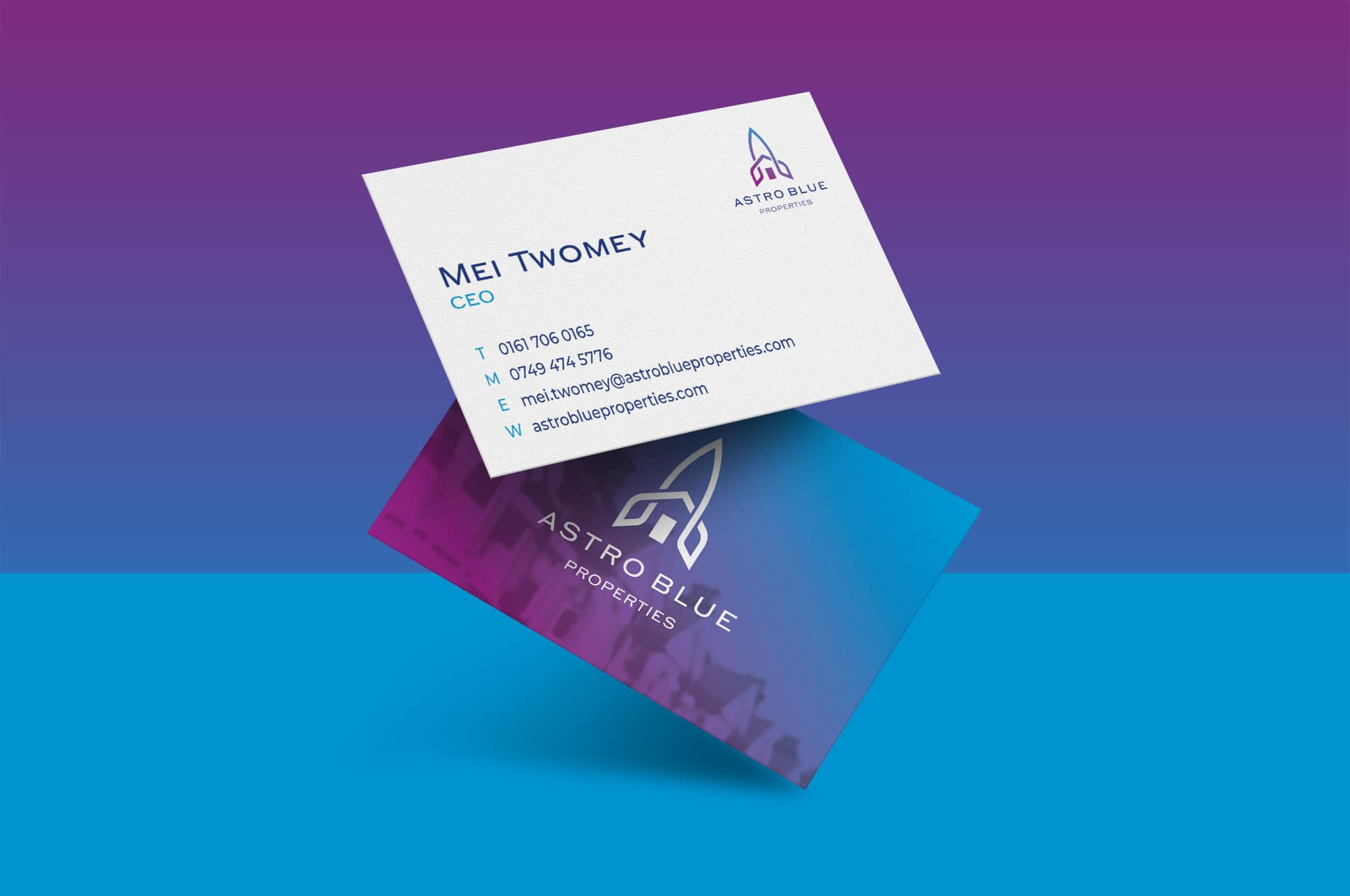Astro Blue Properties Business Card Design