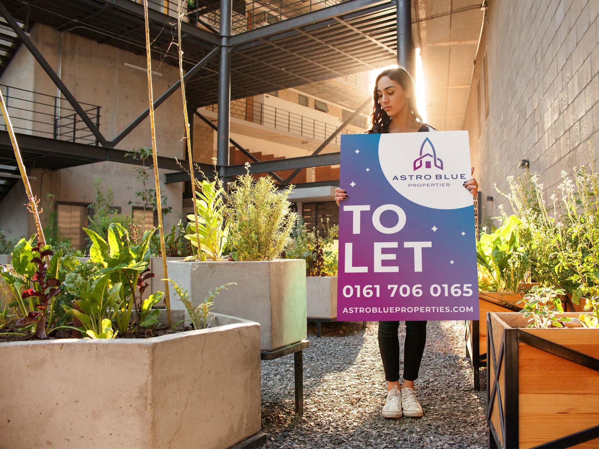 Astro Blue Estate Agent To Let Sign Design