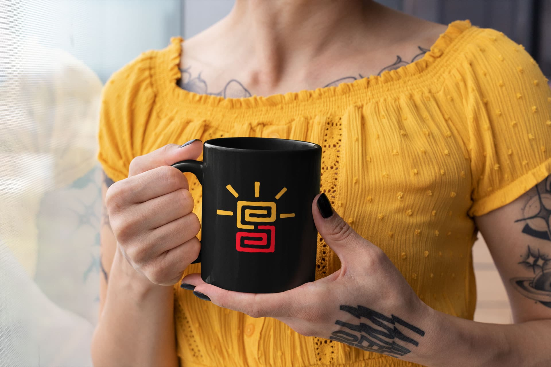 Soul Somatic logo design presented on a mug