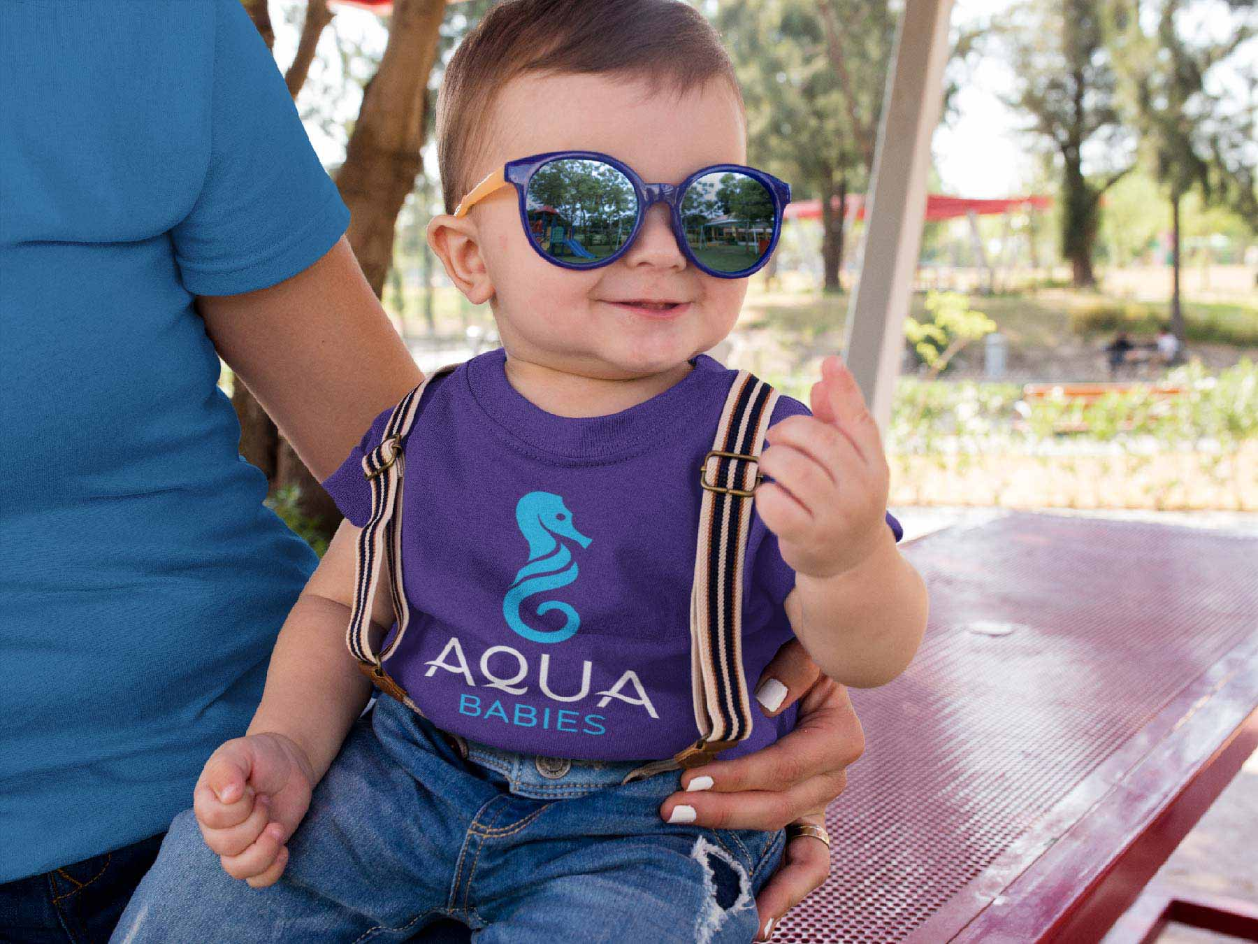 Child wearing Aqua Babies T-shirt