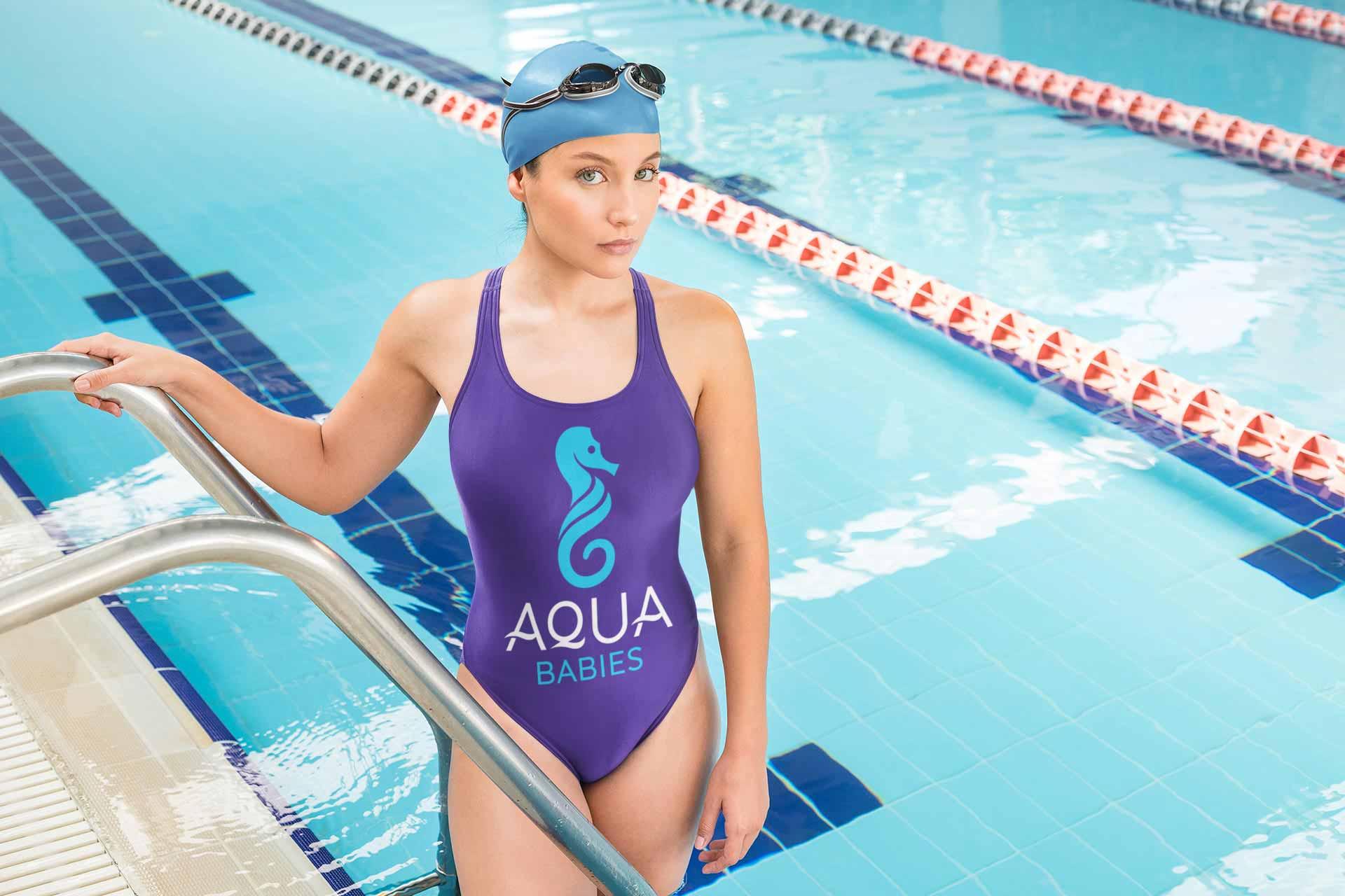 Aqua Babies Logo on a swimming costume