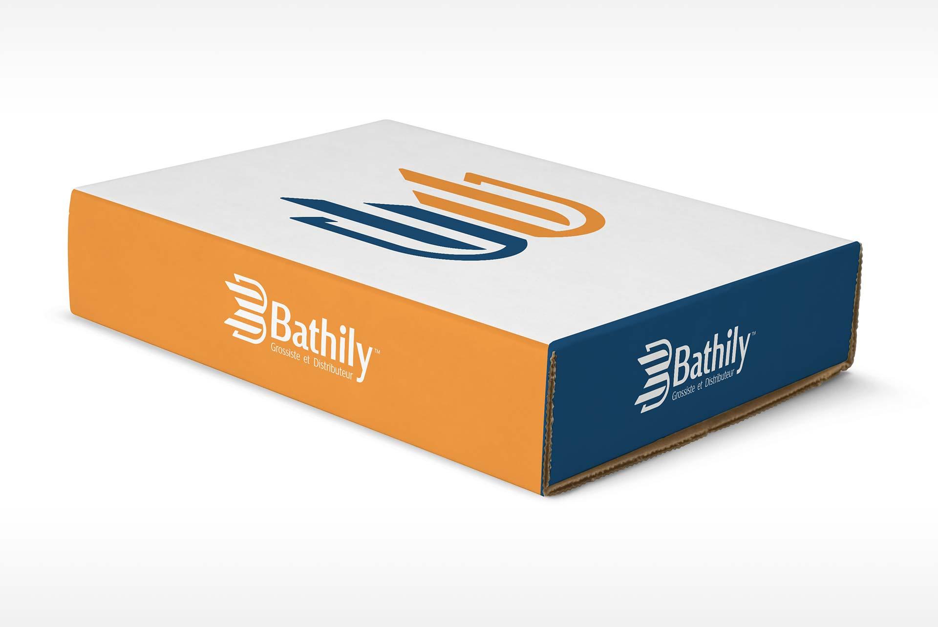 Bathily logo design presented on a box