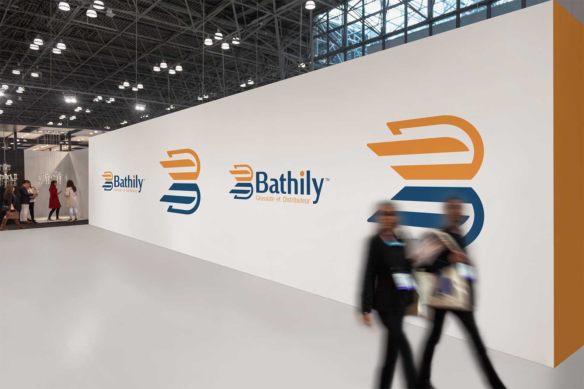 Bathily supply chain logo design presented on an exhibition wall
