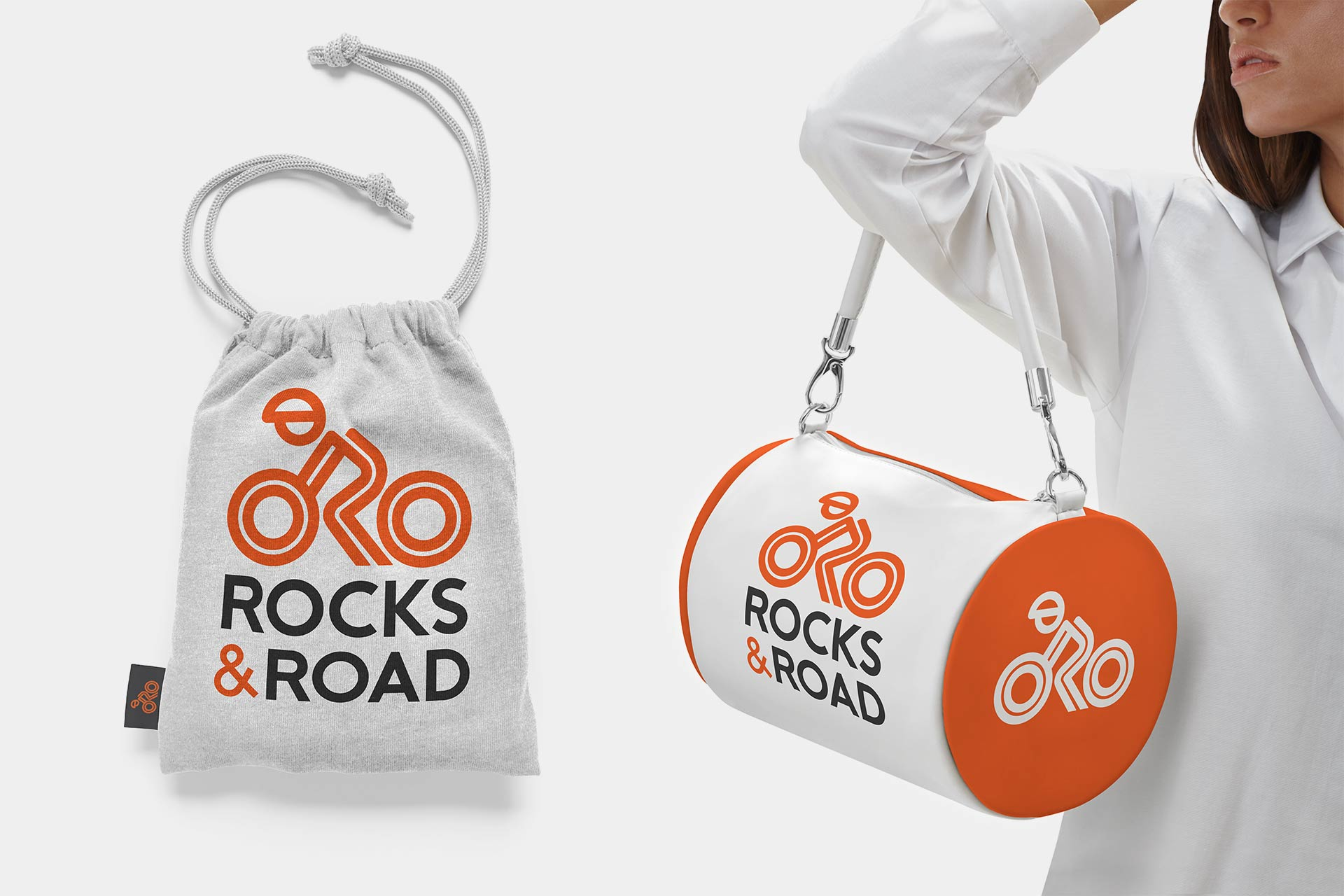 Rocks and Road Logo Design on Fitness Bags