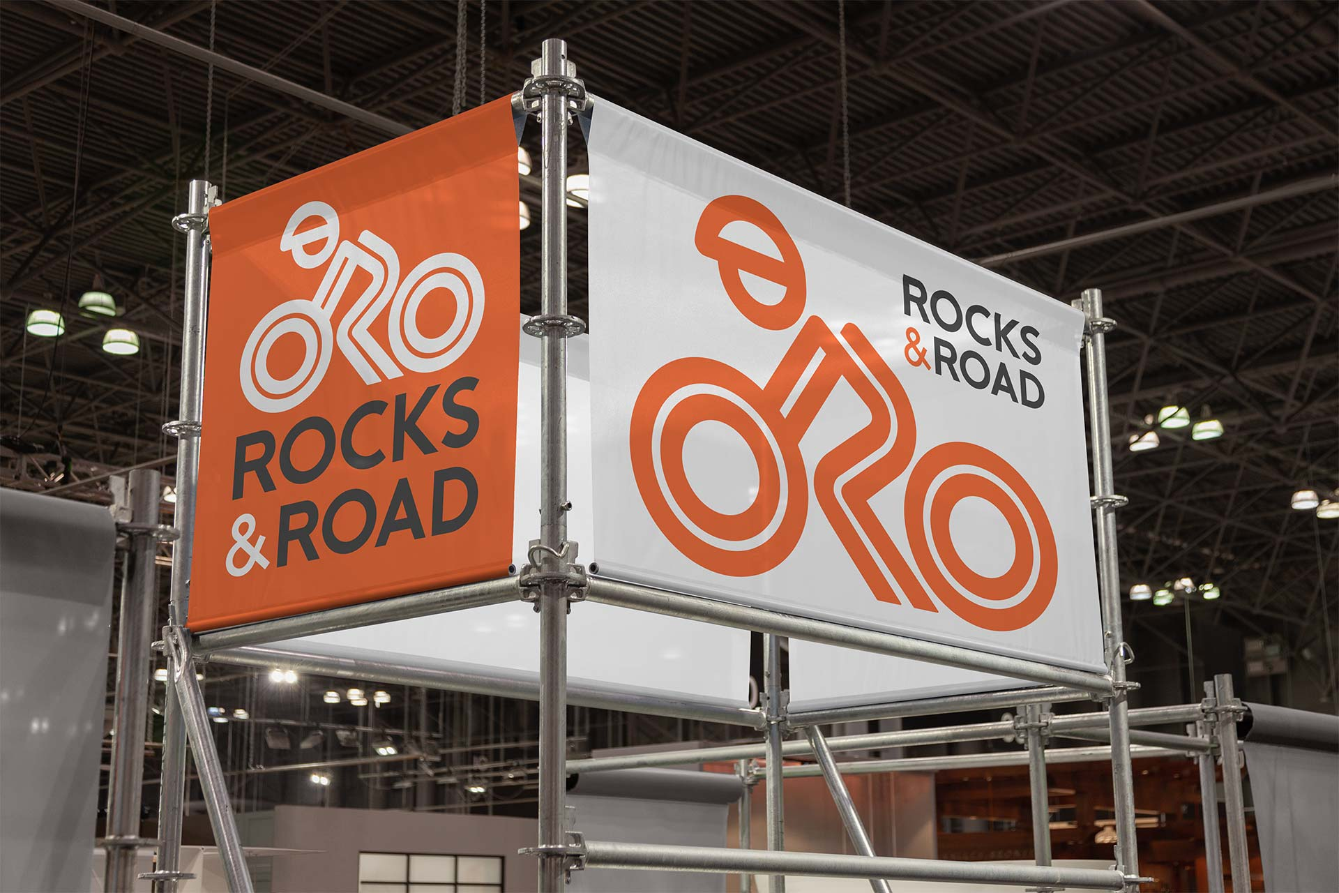 Rocks and Road Logo Design on Exhibition Banner