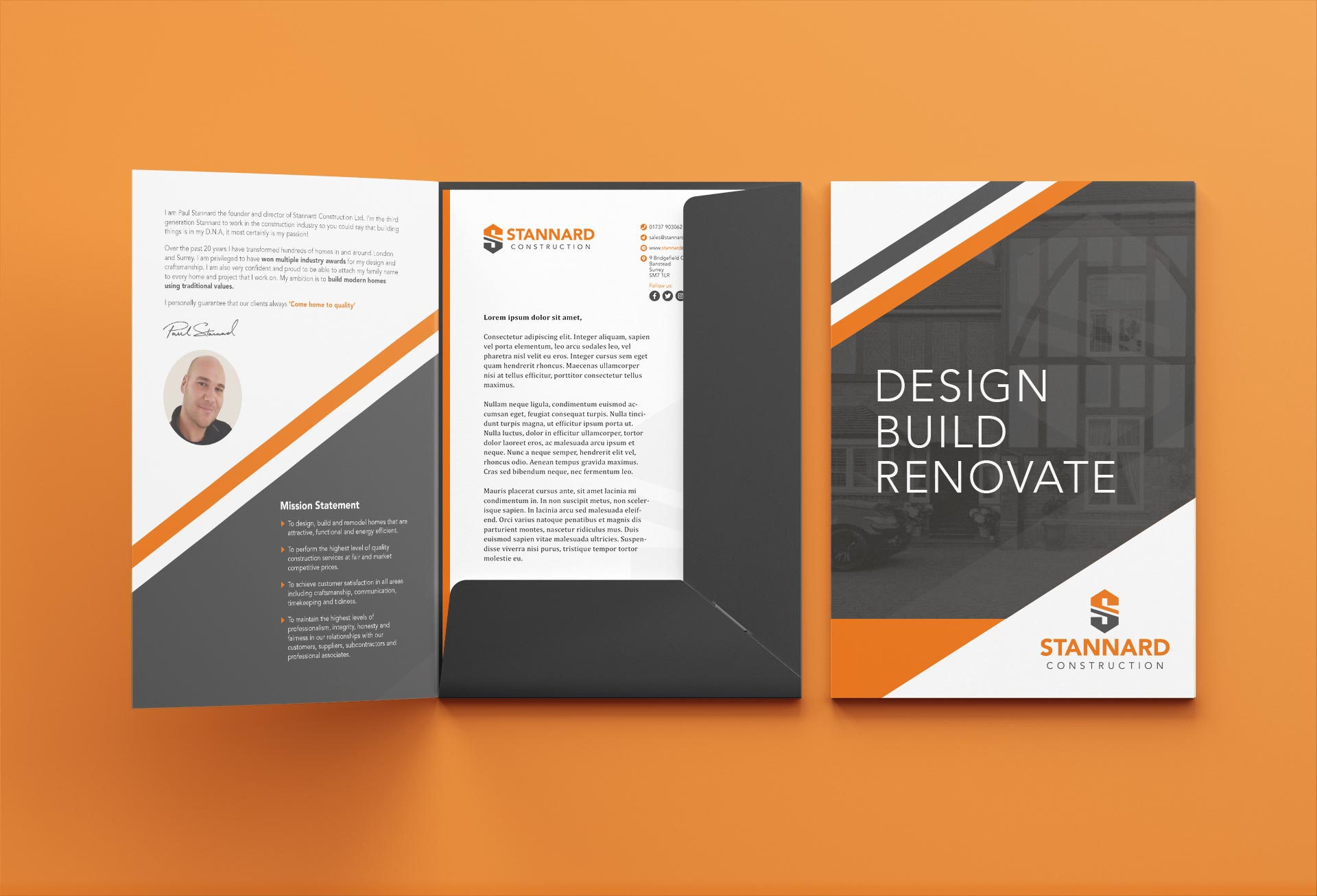 Stannard Construction A4 Folder Design