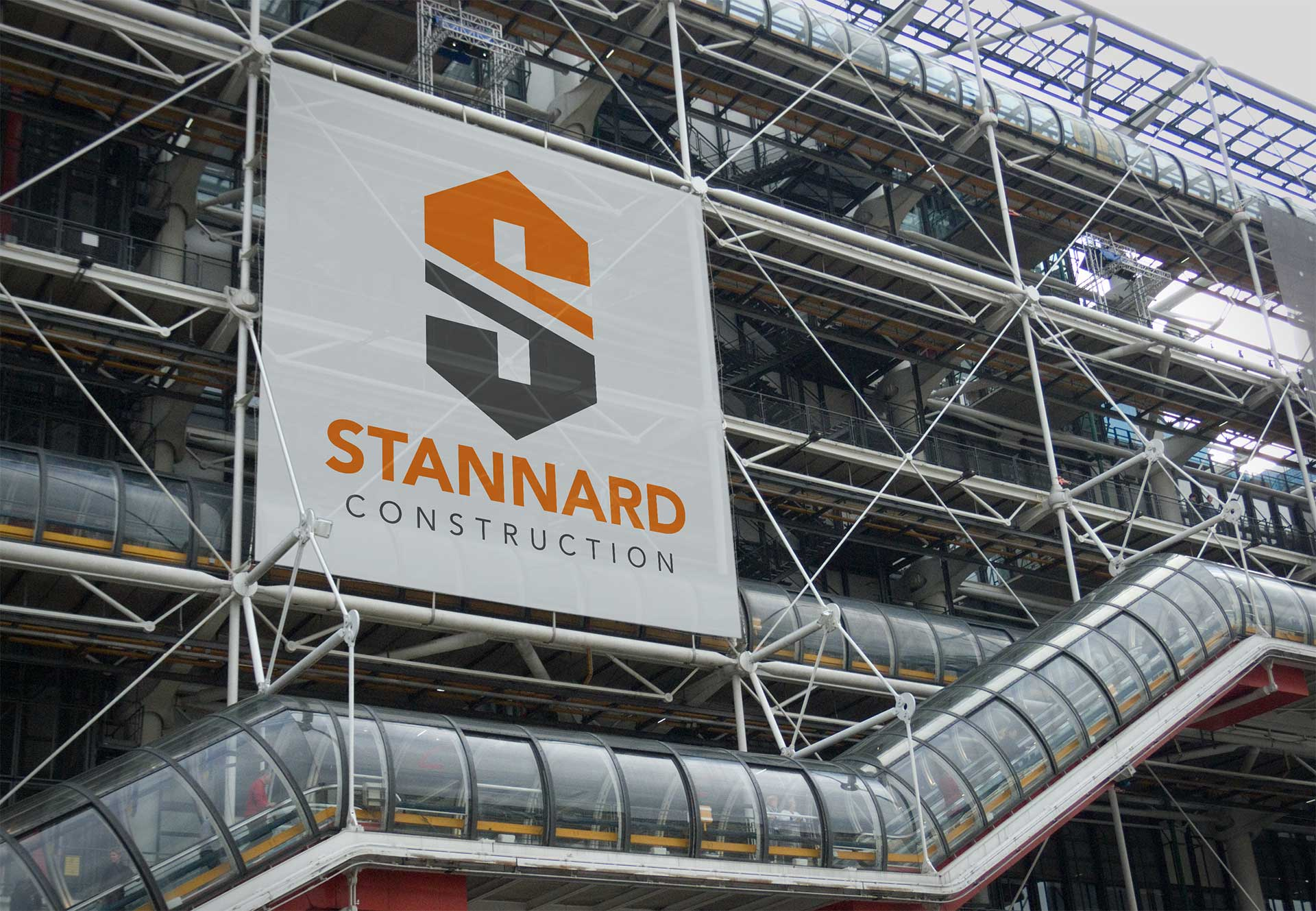 Stannard Construction logo on building site sign