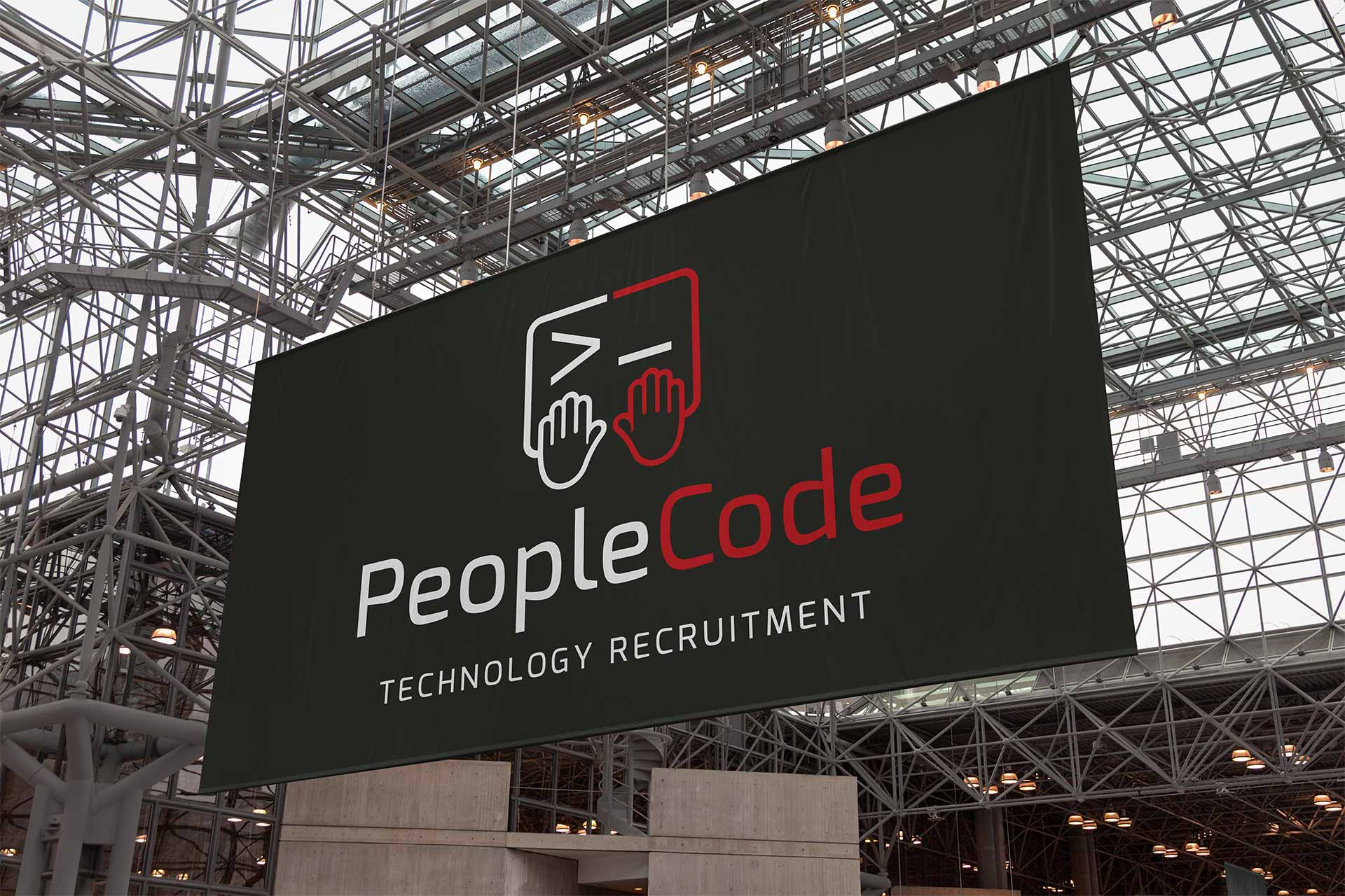 People Code Logo Design on and Exhibition Banner