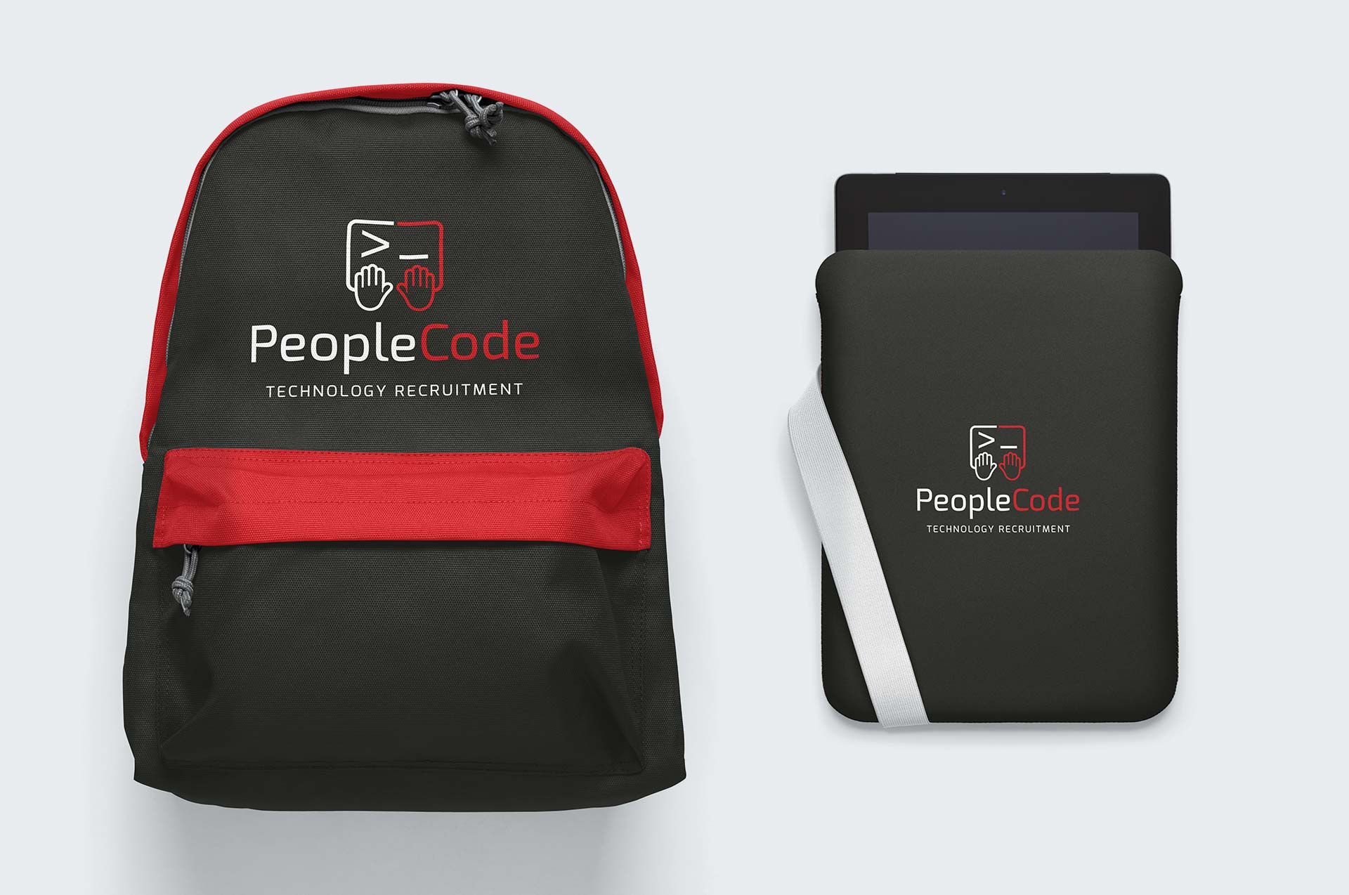 People Code Logo on Backpack and Tablet Computer Case