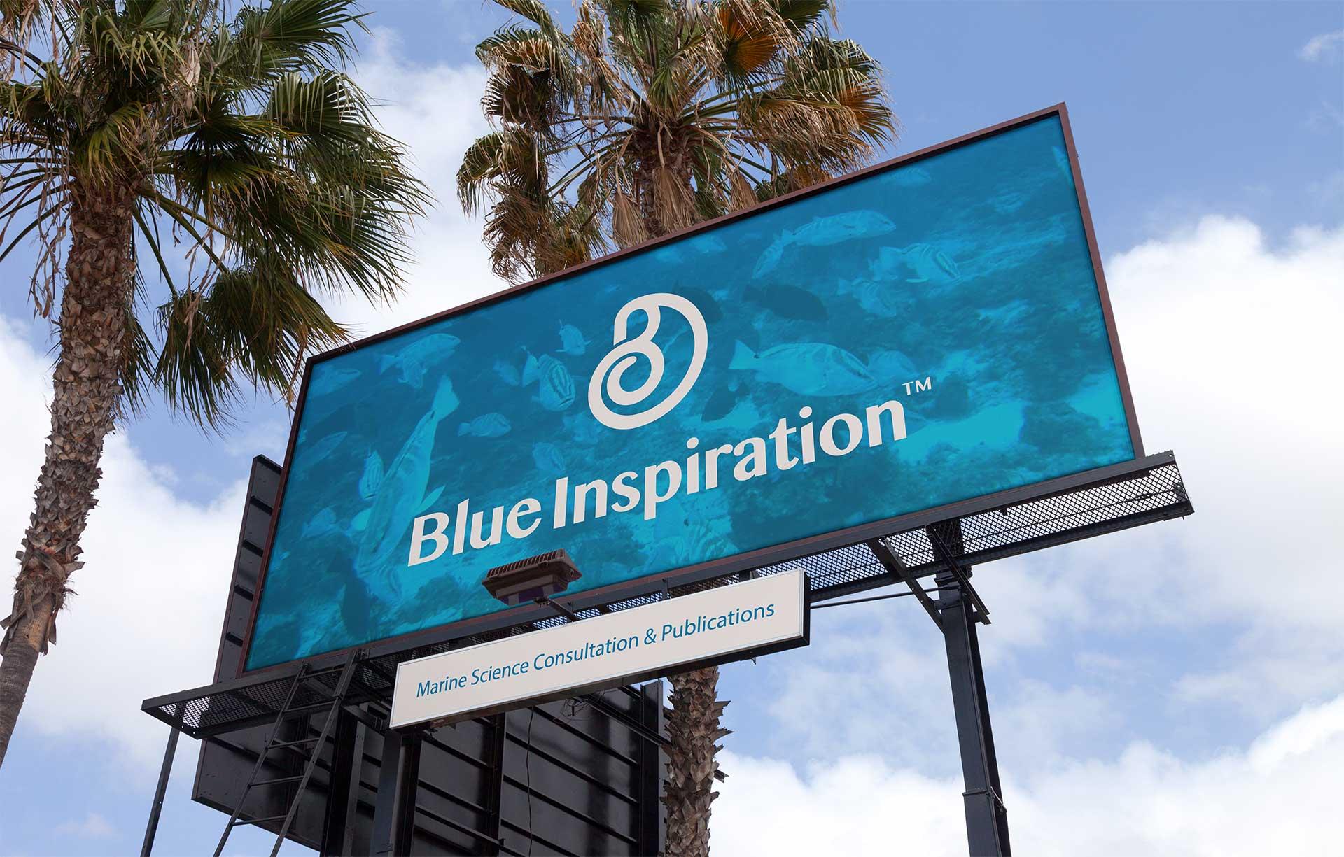 Blue Inspirations Logo Design on a Billboard Sign
