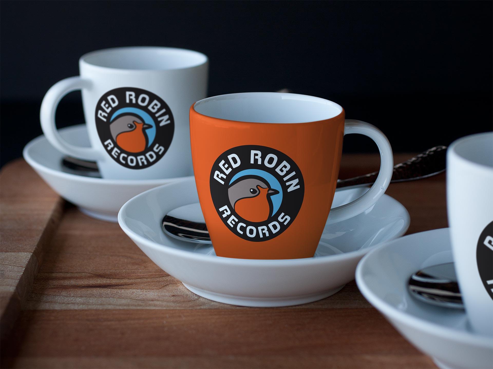 Red Robin Records Logo Design on Coffee Mug