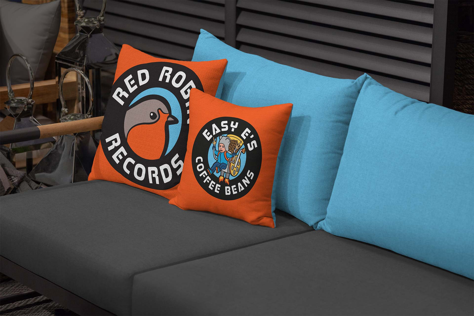 Red Robin Records Logo Design on Cushions