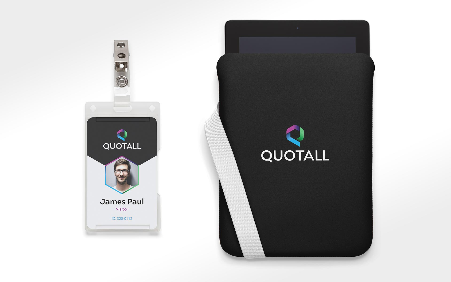 Quotall Logo Design Presented on Name Badge and iPad Case
