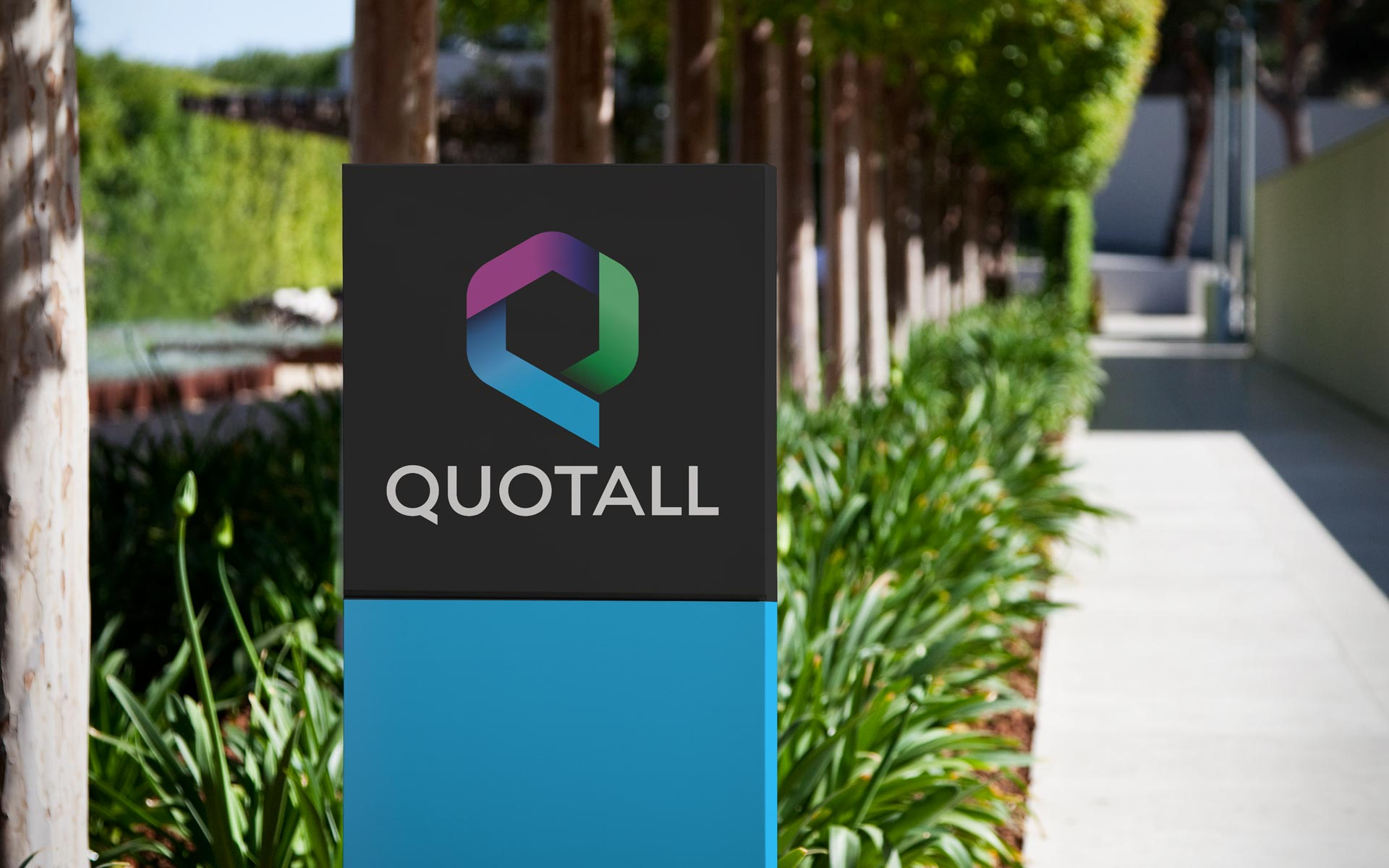 Outdoor Sign for Quotall, an Insurance Company Rebrand