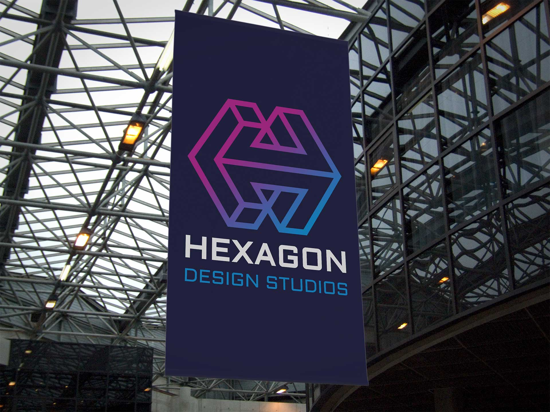 Hexagon Design Studios Logo Design on Display Banner