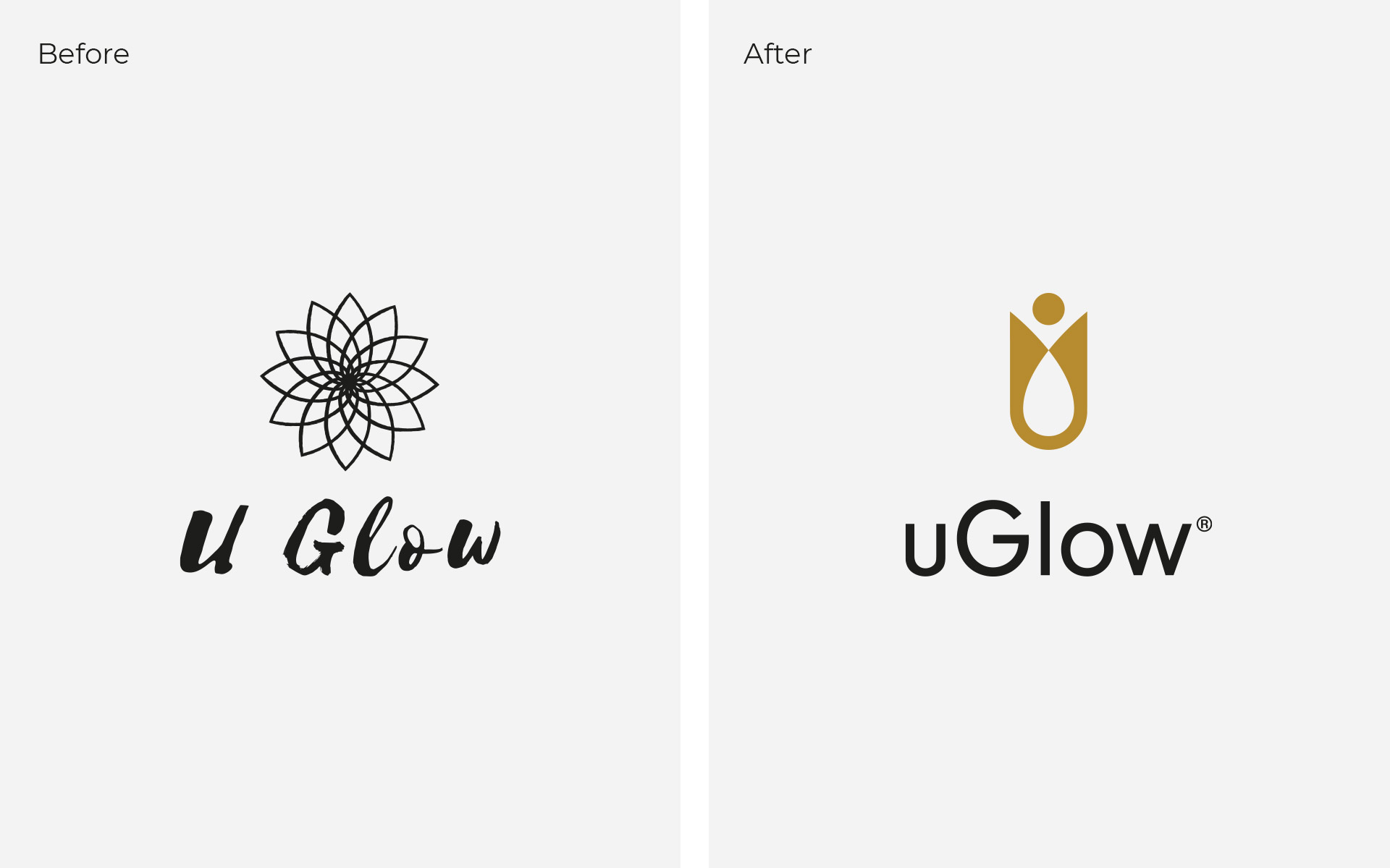 uGlow Logo Before and After