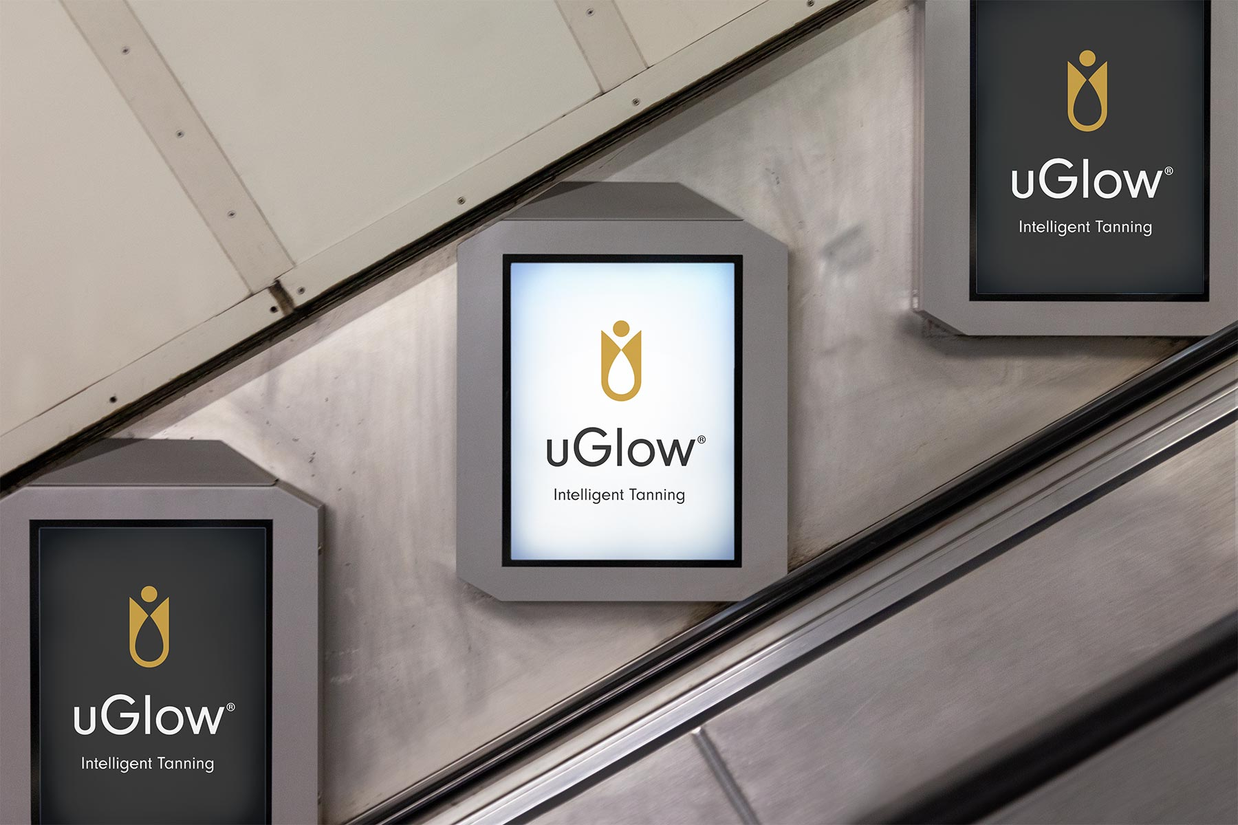 uGlow Logo Presented on Underground Display Posters
