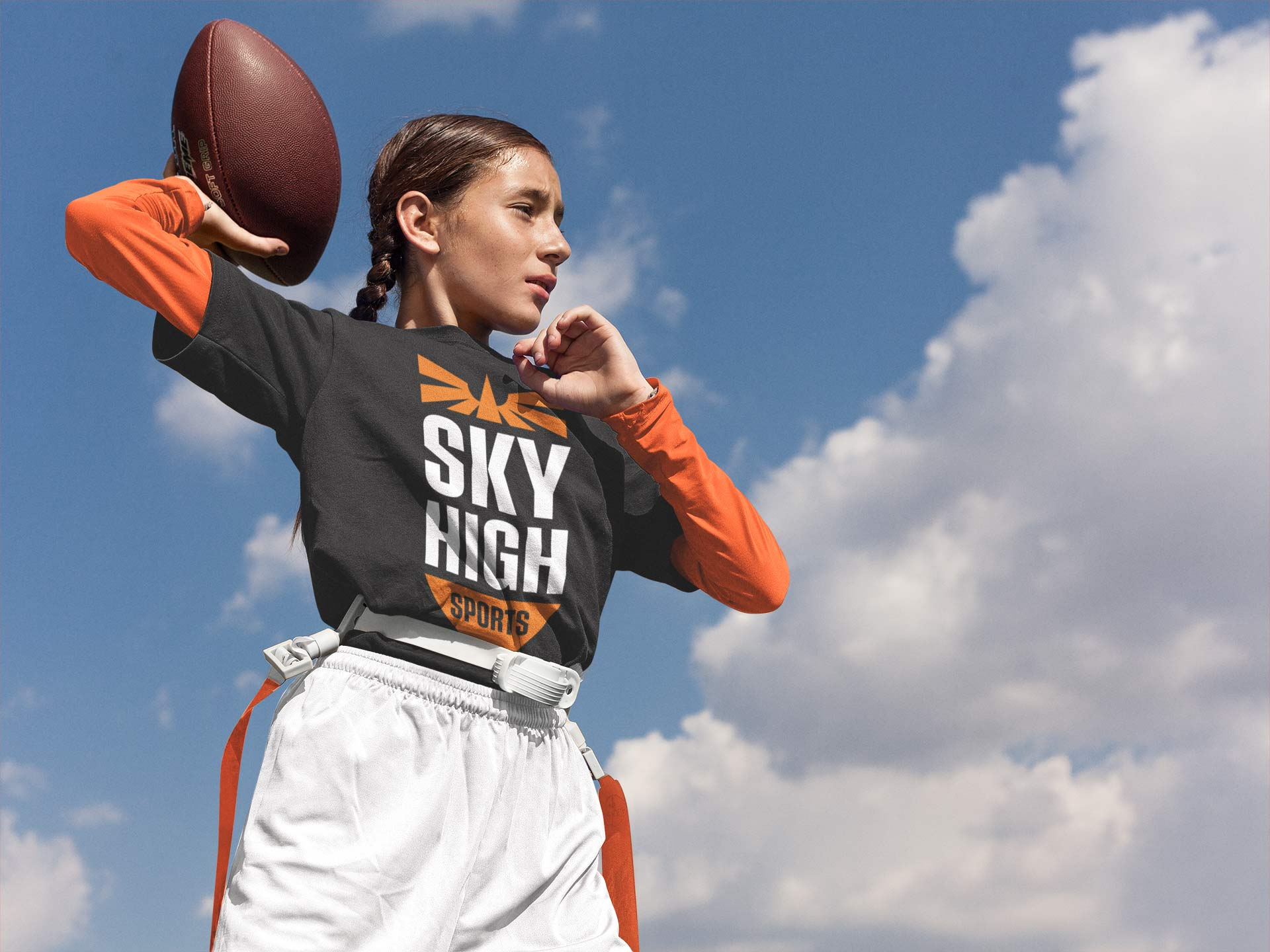 Sky High Sports Logo Design on a T-shirt
