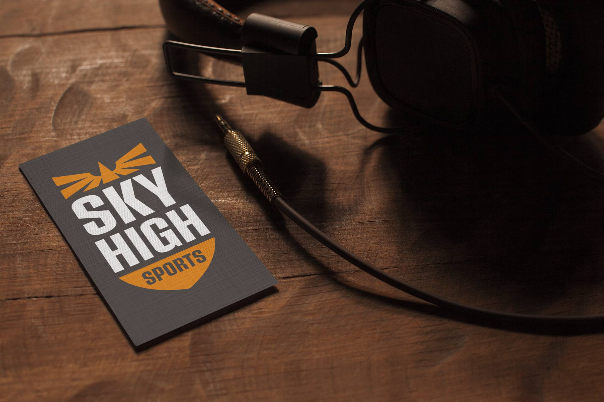 Sky High Sports logo on a business card