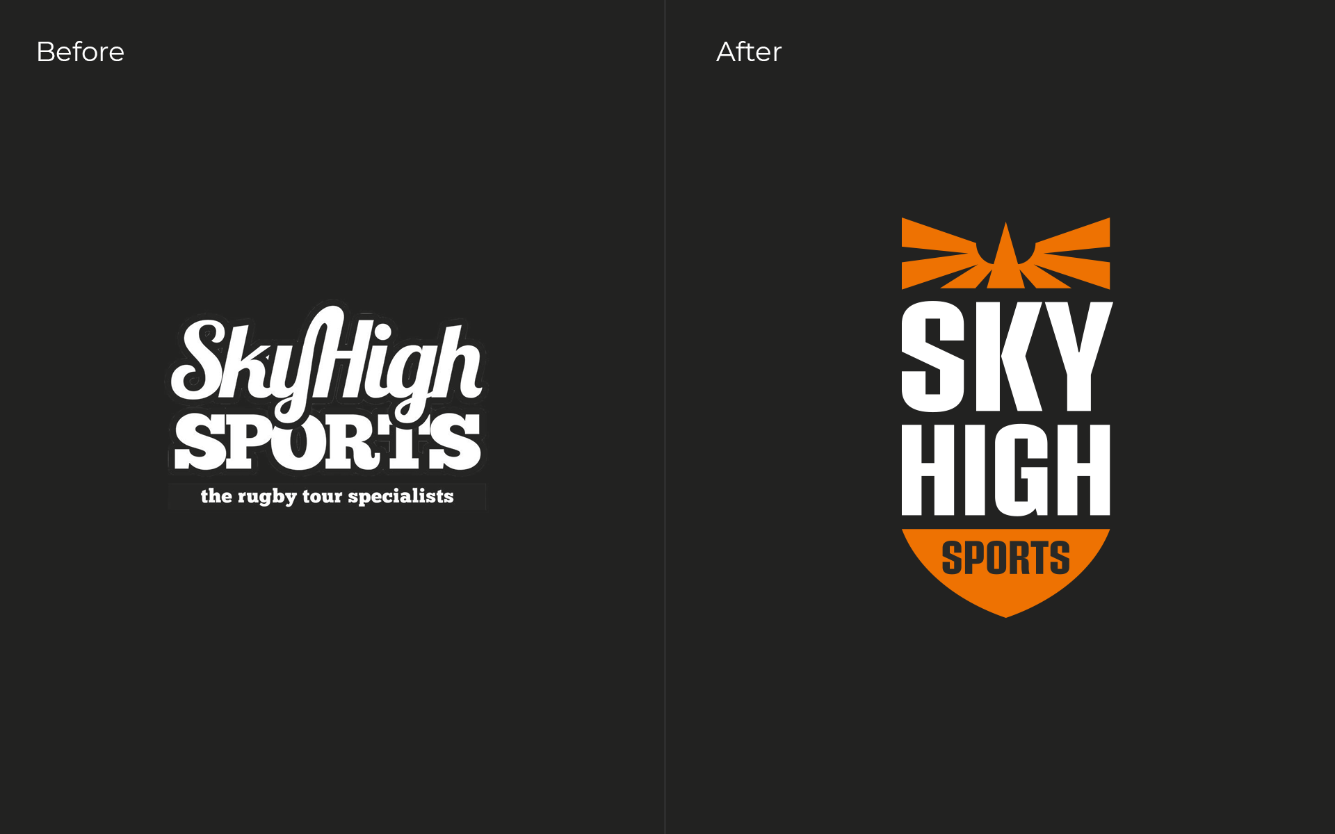 Sky High Sports Logo Before and After