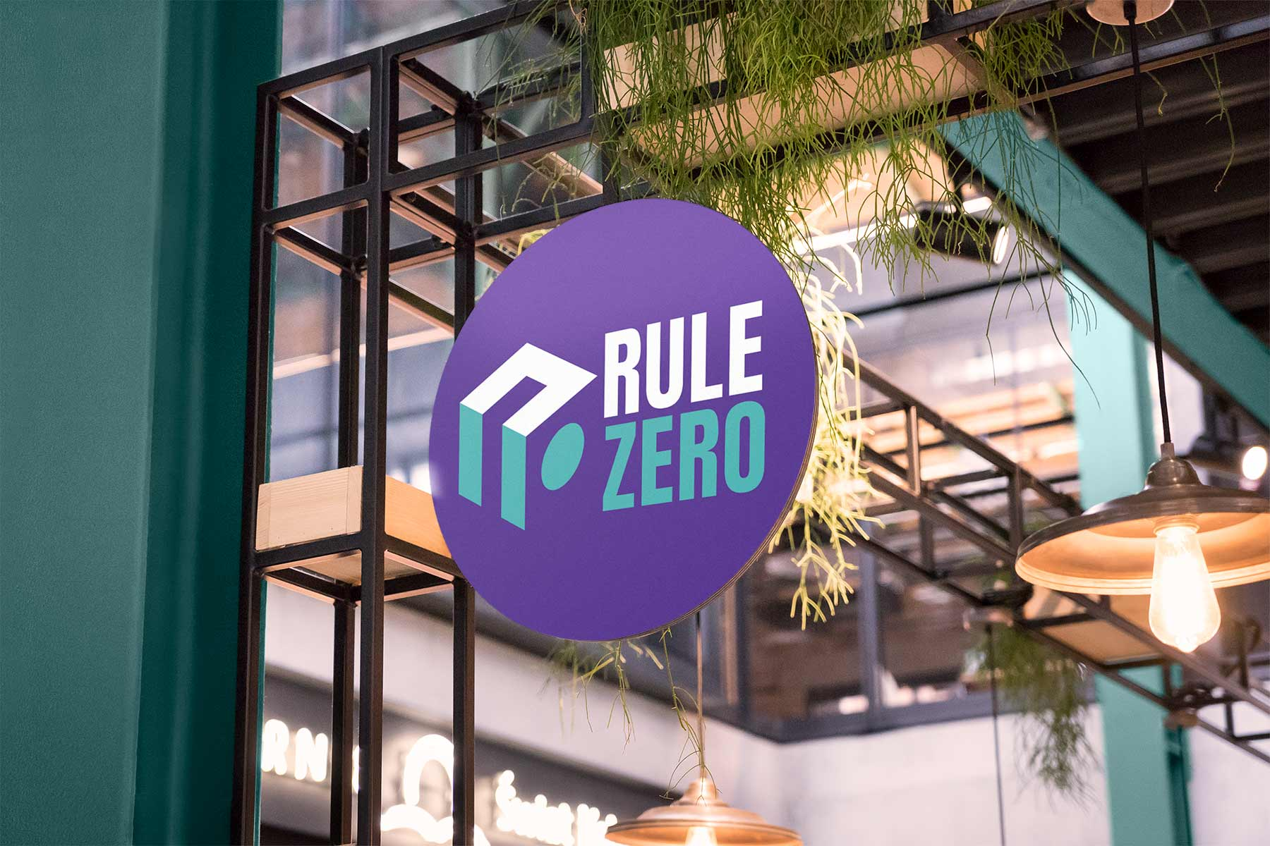 Rule Zero Logo Design on Exterior Sign