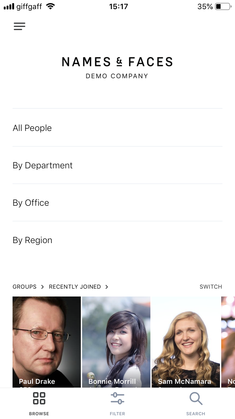 Names & Faces directories allow you to view certain groups of people including those that have recently joined the company