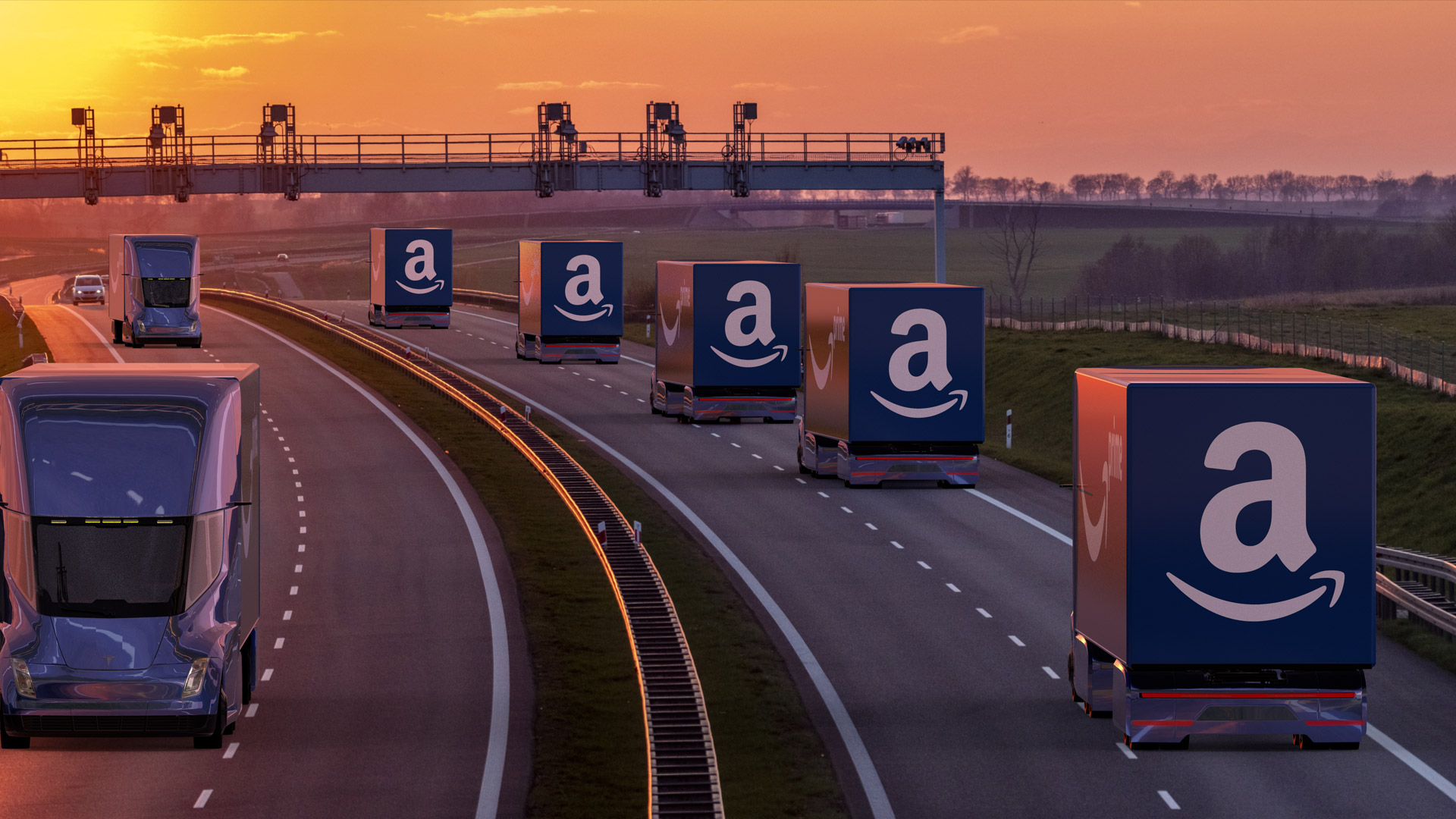 Amazon delivery trucks on a highway