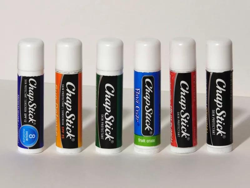 An assortment of Chapstick flavors