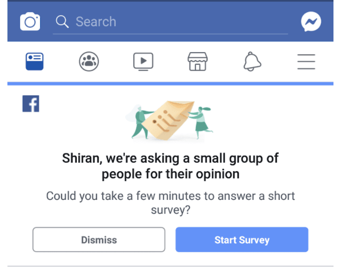 Facebook page asking for user feedback