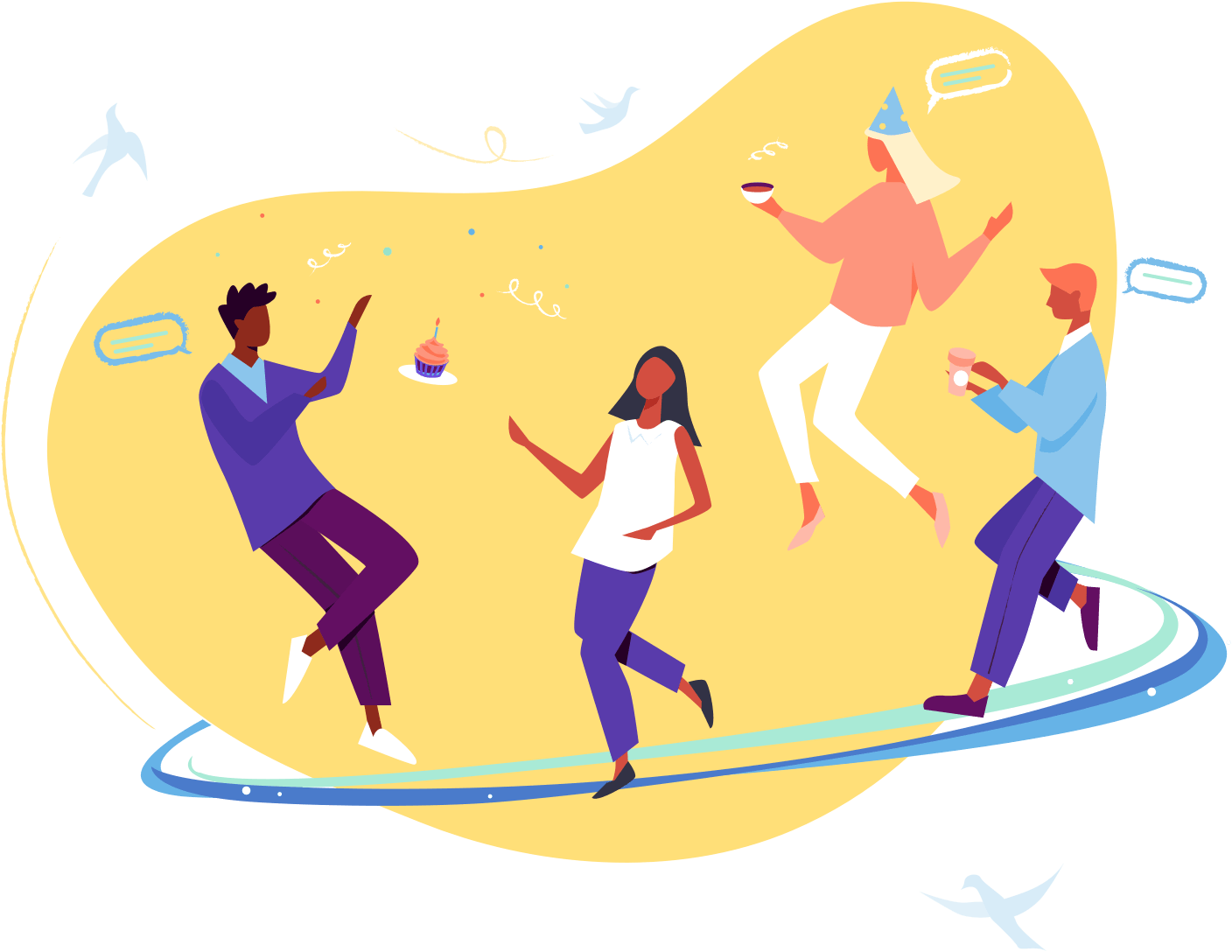 Illustration of people celebrating an employees work anniversary