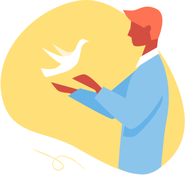 A white bird lands on the outstretched hand of a caring man