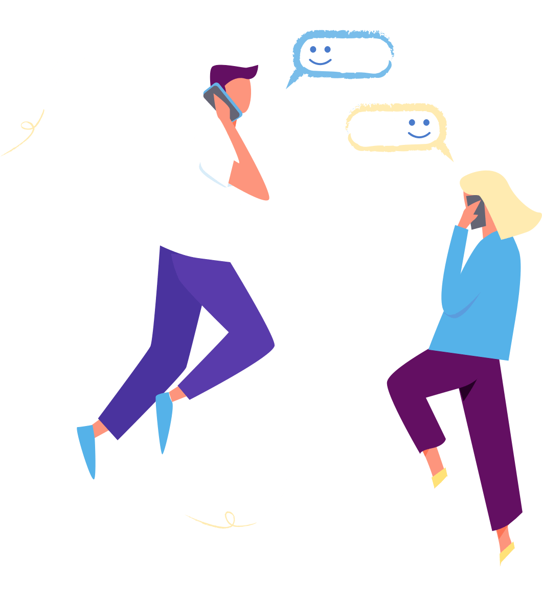 A man and a woman casually float in the air as they talk on the phone